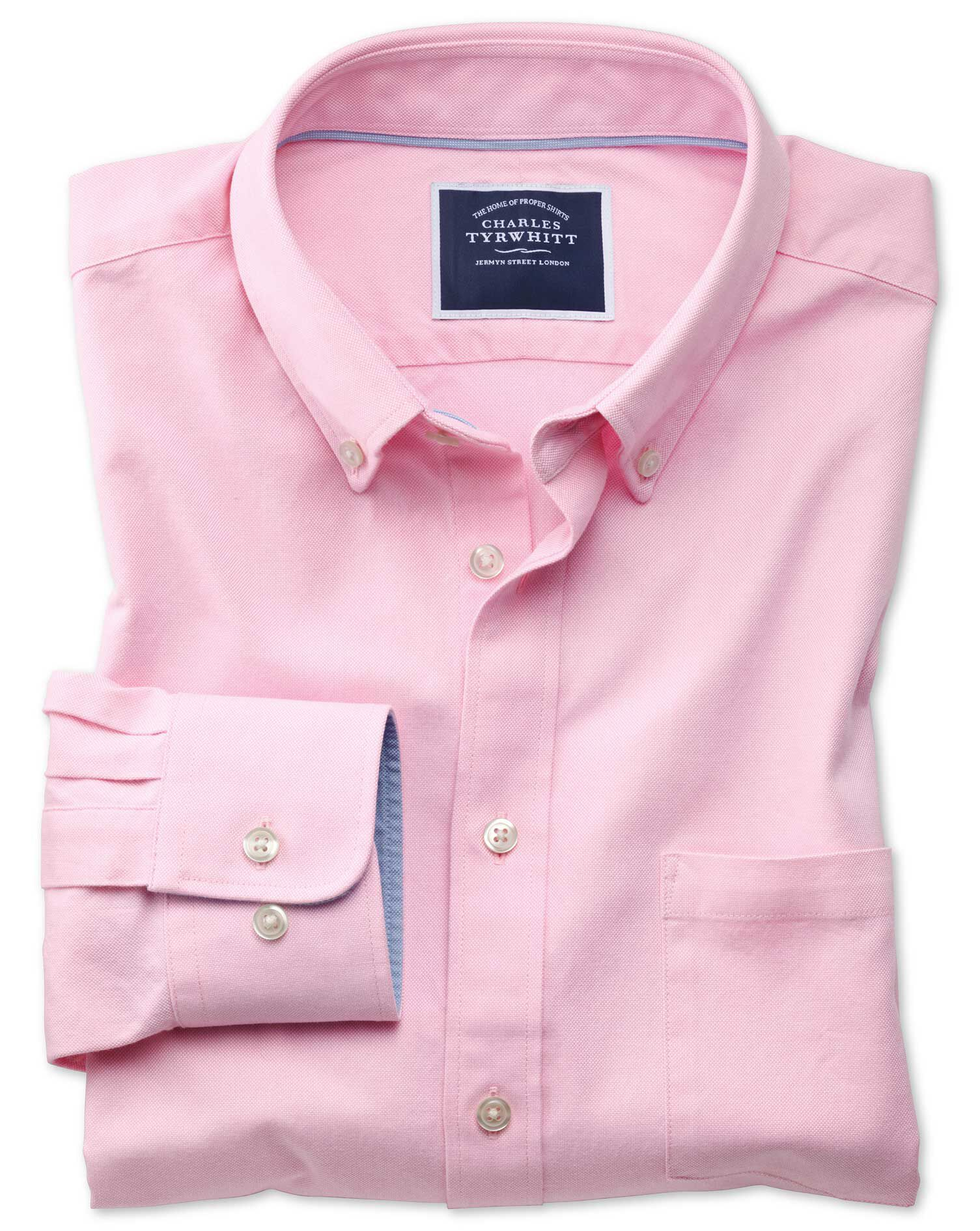 Slim Fit Button-Down Washed Oxford Plain Light Pink Cotton Shirt Single Cuff Size XS by Charles Tyrw