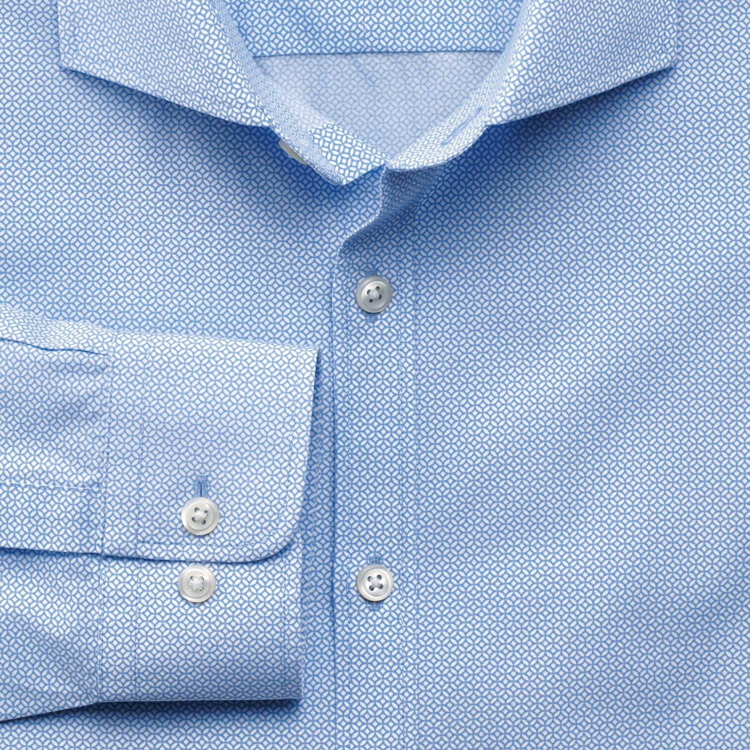 Classic Fit Sky Blue Geometric Print Cotton Shirt Single Cuff Size Large by Charles Tyrwhitt