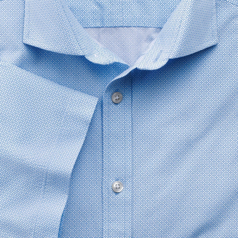 Slim Fit Sky Blue Short Sleeve Geometric Print Cotton Shirt Single Cuff Size Medium by Charles Tyrwh