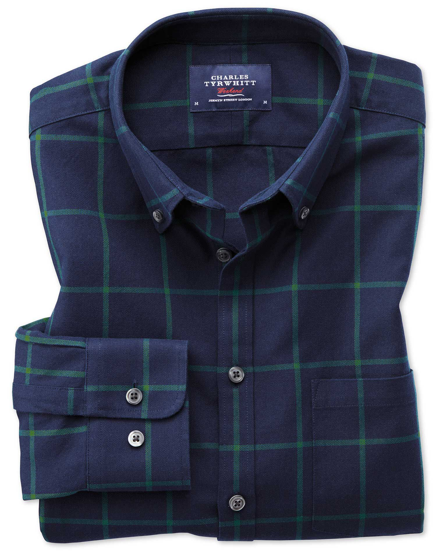 Slim Fit Button-Down Washed Oxford Navy Blue and Green Check Cotton Shirt Single Cuff Size Small by