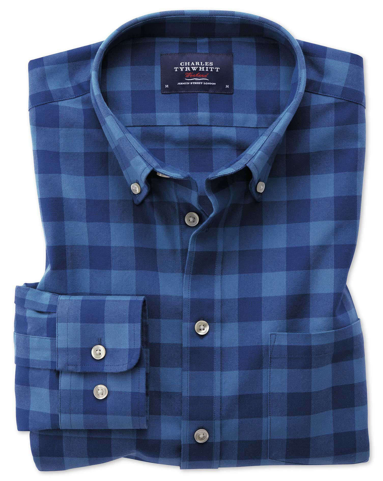 Extra Slim Fit Button-Down Washed Oxford Blue Check Cotton Shirt Single Cuff Size XXL by Charles Tyr