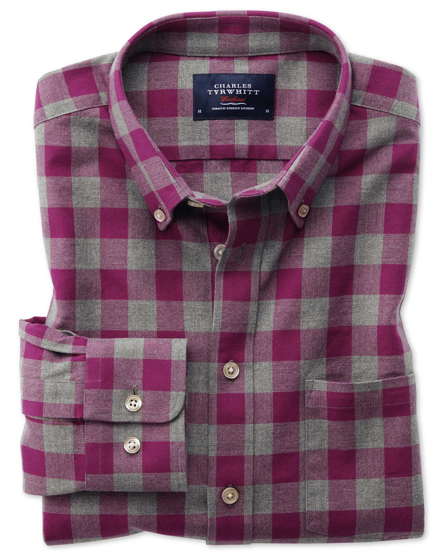 Extra Slim Fit Button-Down Washed Oxford Berry and Grey Check Cotton Shirt Single Cuff Size Small by