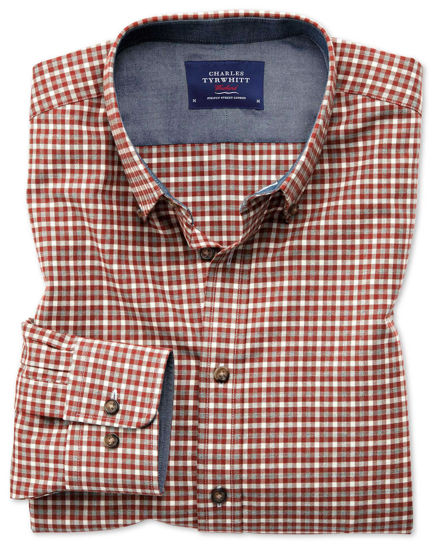 Classic Fit Button-Down Soft Cotton Rust Multi Check Shirt Single Cuff Size XXL by Charles Tyrwhitt
