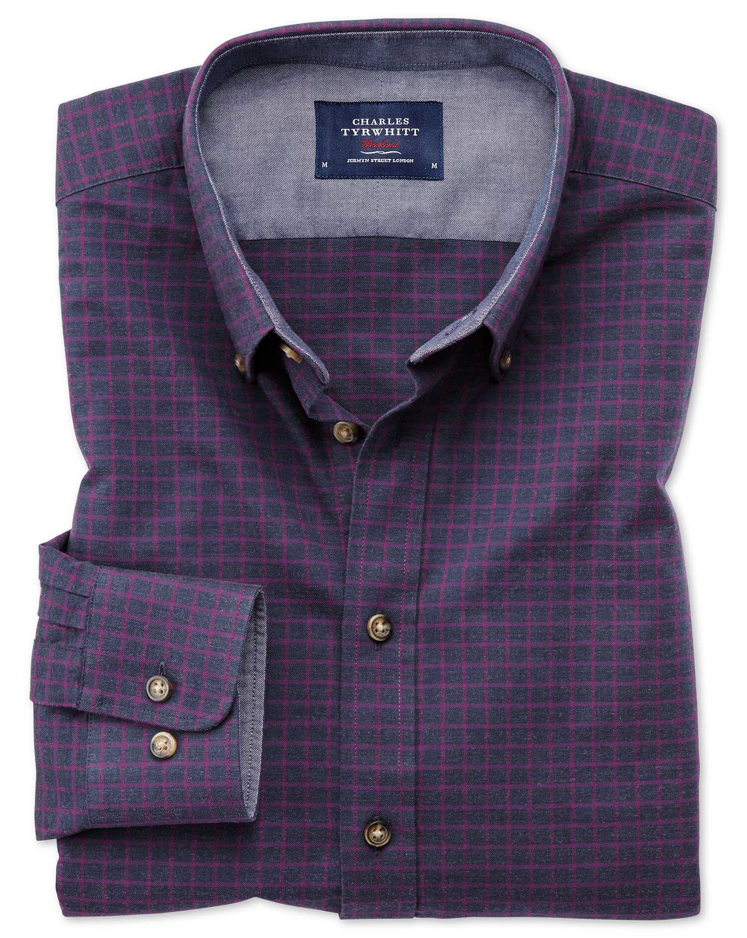 Slim Fit Button-Down Soft Cotton Navy Blue and Berry Check Shirt Single Cuff Size XS by Charles Tyrw