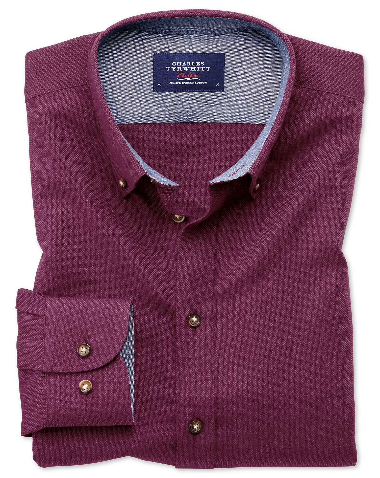 Slim Fit Button-Down Soft Cotton Plain Berry Shirt Single Cuff Size Medium by Charles Tyrwhitt