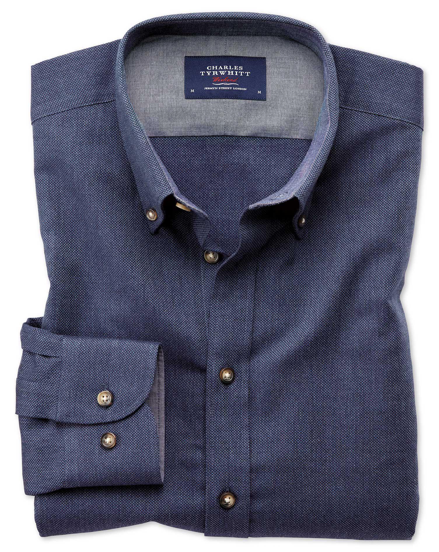 Slim Fit Button-Down Soft Cotton Plain Blue Shirt Single Cuff Size XS by Charles Tyrwhitt