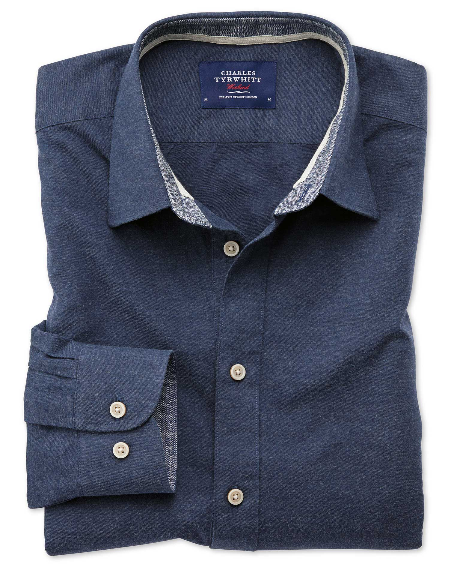 Slim Fit Popover Navy Blue Cotton Shirt Single Cuff Size Small by Charles Tyrwhitt