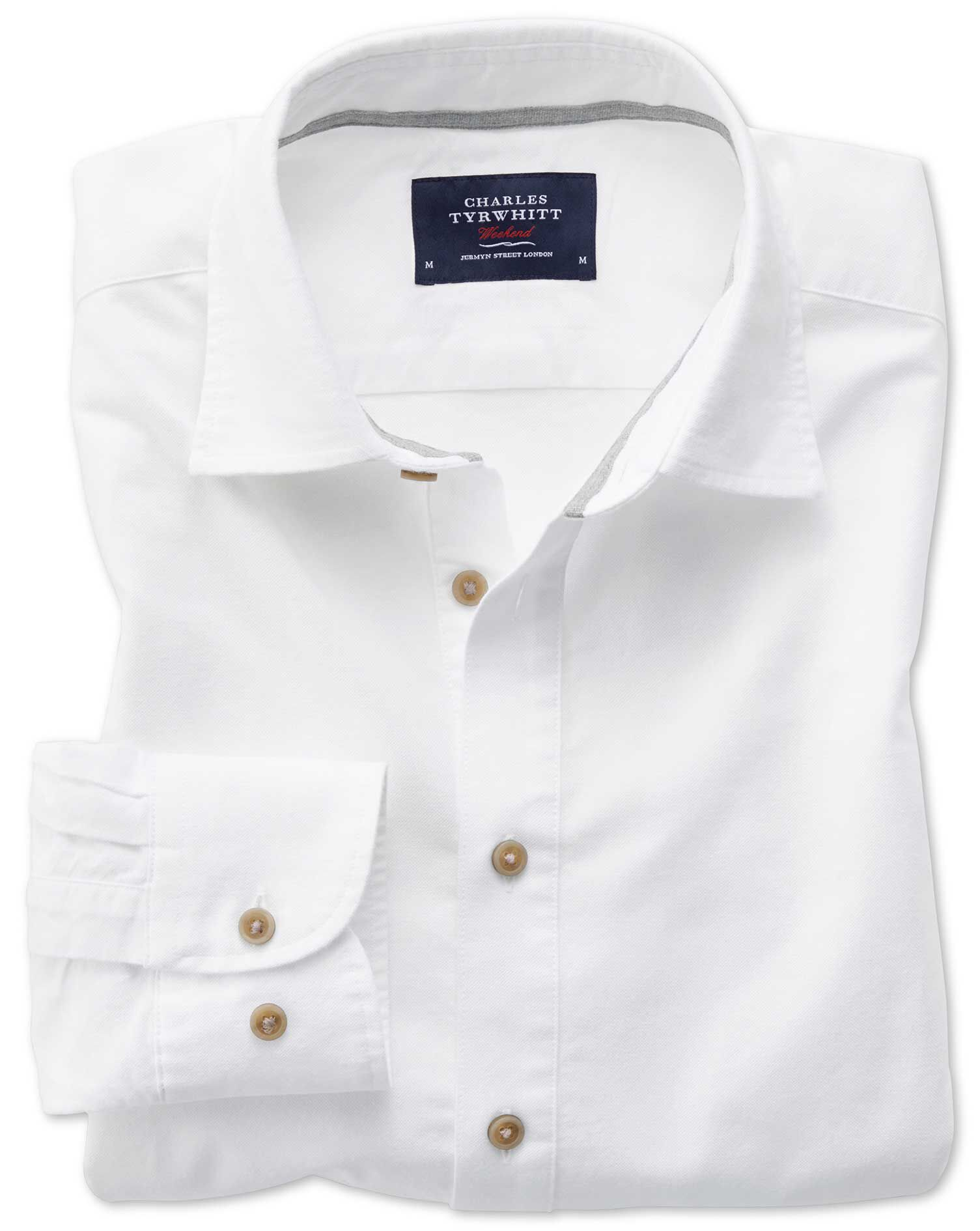 Slim Fit Popover Twill Off-White Cotton Shirt Single Cuff Size Small by Charles Tyrwhitt