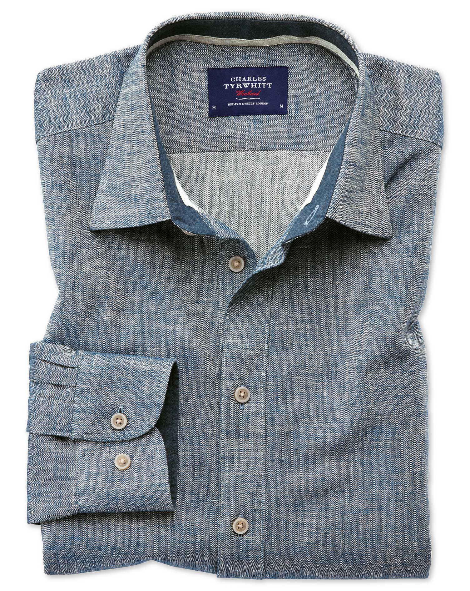 Slim Fit Popover Herringbone Denim Blue Cotton Shirt Single Cuff Size XXL by Charles Tyrwhitt