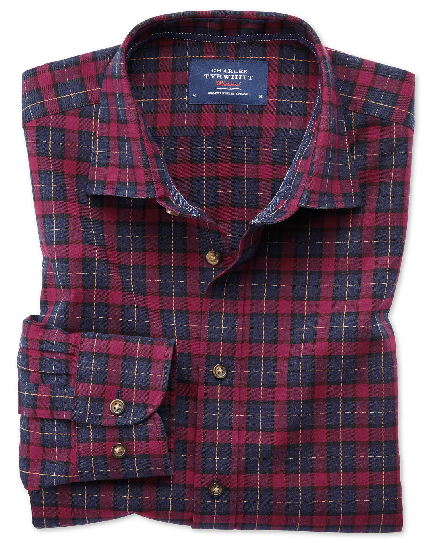 Classic Fit Heather Tartan Burgundy and Navy Blue Check Cotton Shirt Single Cuff Size Medium by Char