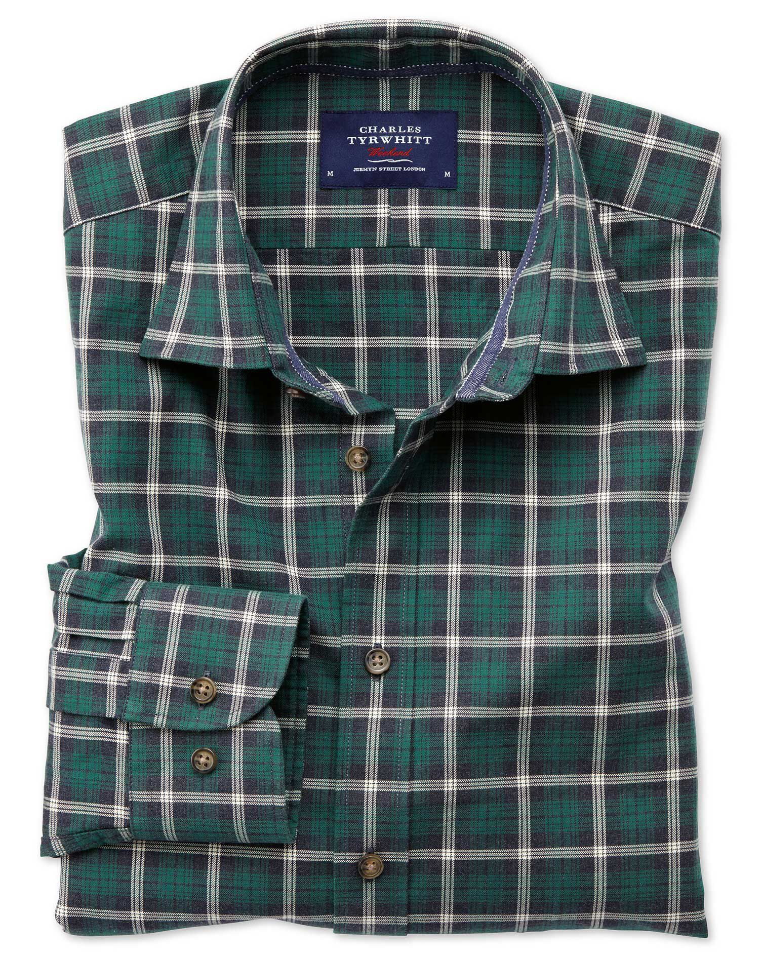 Slim Fit Heather Tartan Navy Blue and Green Check Cotton Shirt Single Cuff Size Small by Charles Tyr