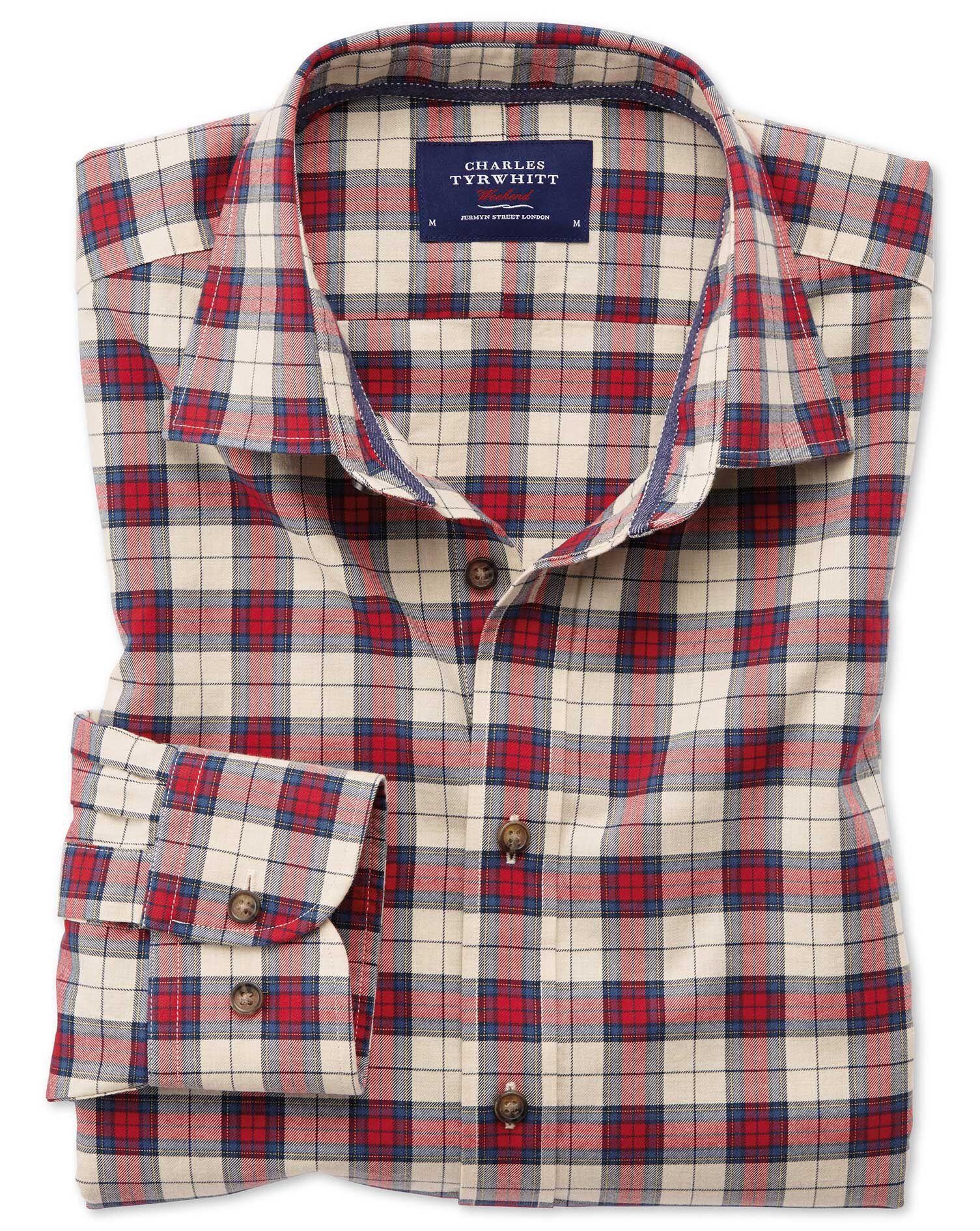 Slim Fit Heather Tartan Red Check Cotton Shirt Single Cuff Size Large by Charles Tyrwhitt