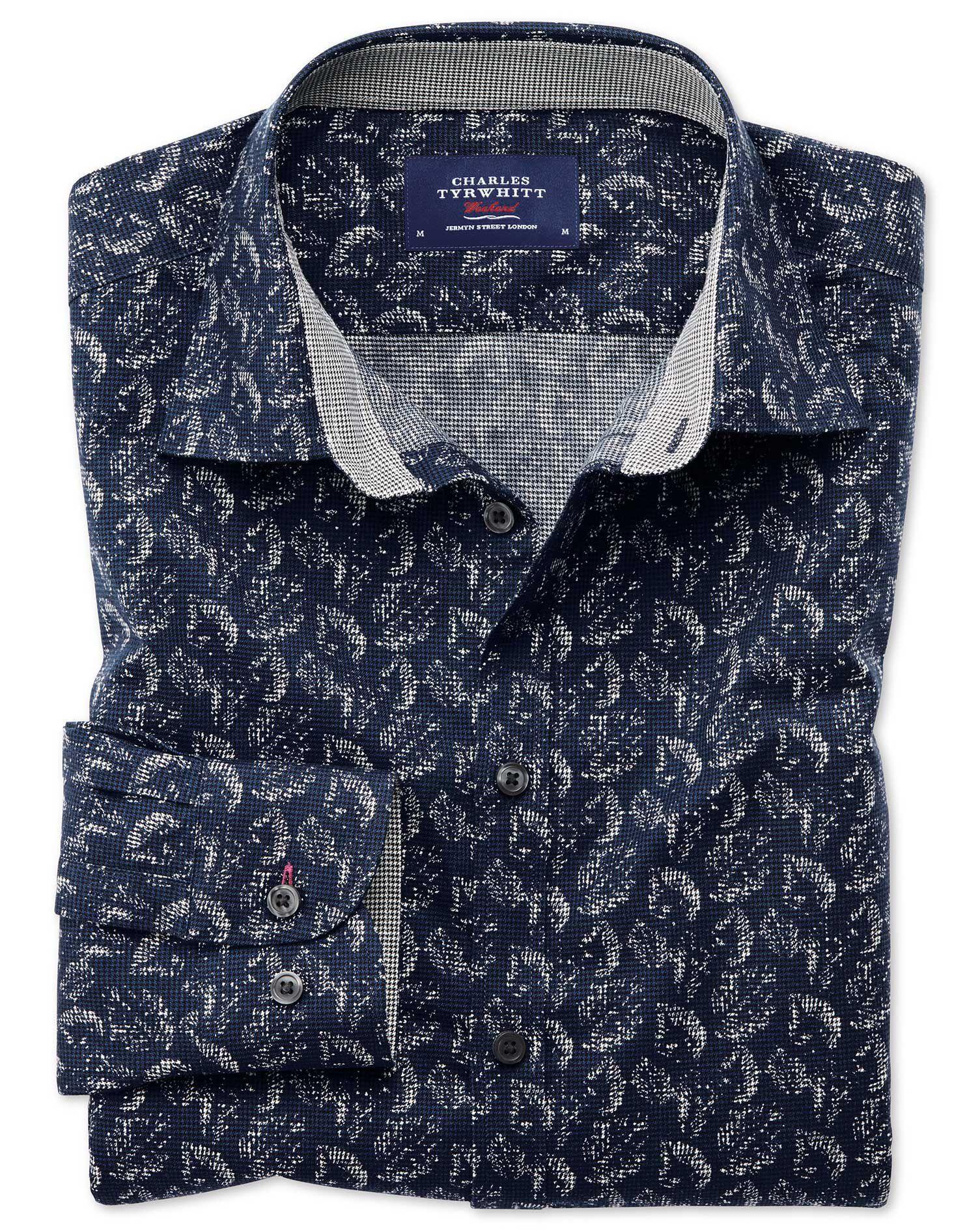 Slim Fit Dark Blue Leaf Print Cotton Shirt Single Cuff Size Medium by Charles Tyrwhitt