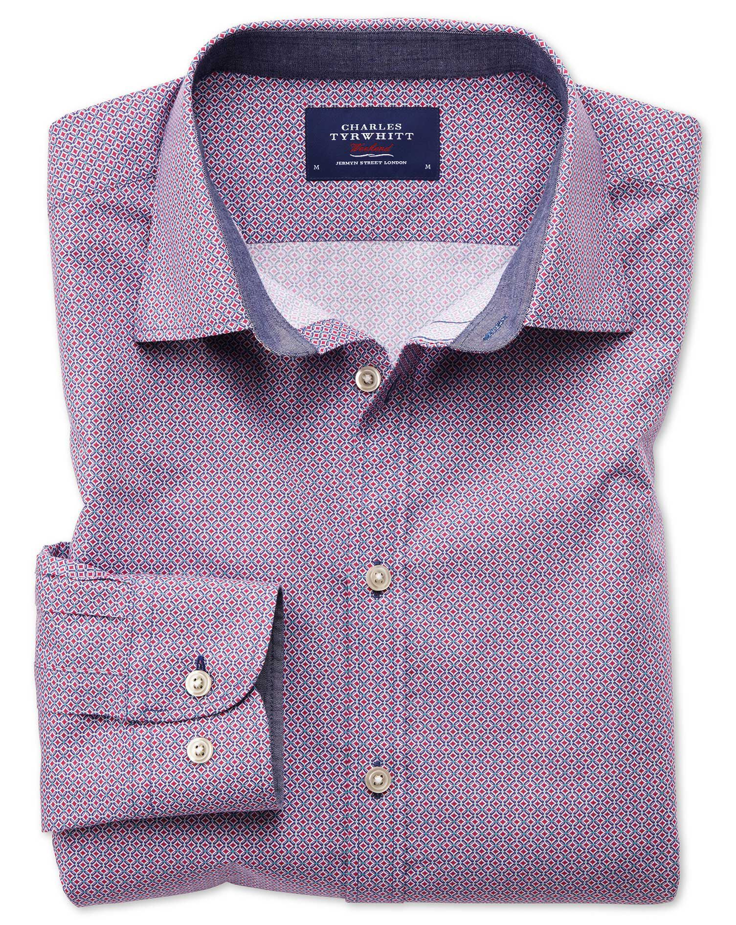 Slim Fit Magenta and Blue Print Cotton Shirt Single Cuff Size XS by Charles Tyrwhitt