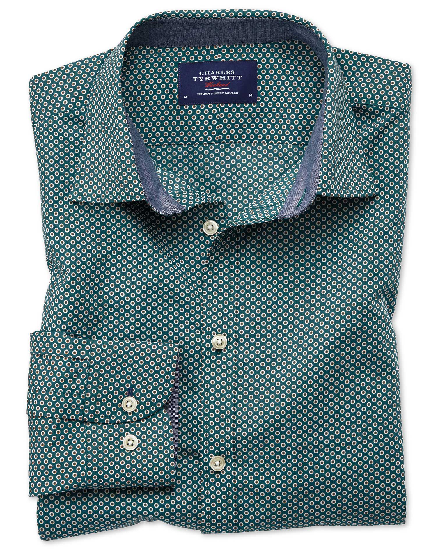 Extra Slim Fit Dark Green Spot Print Cotton Shirt Single Cuff Size Small by Charles Tyrwhitt