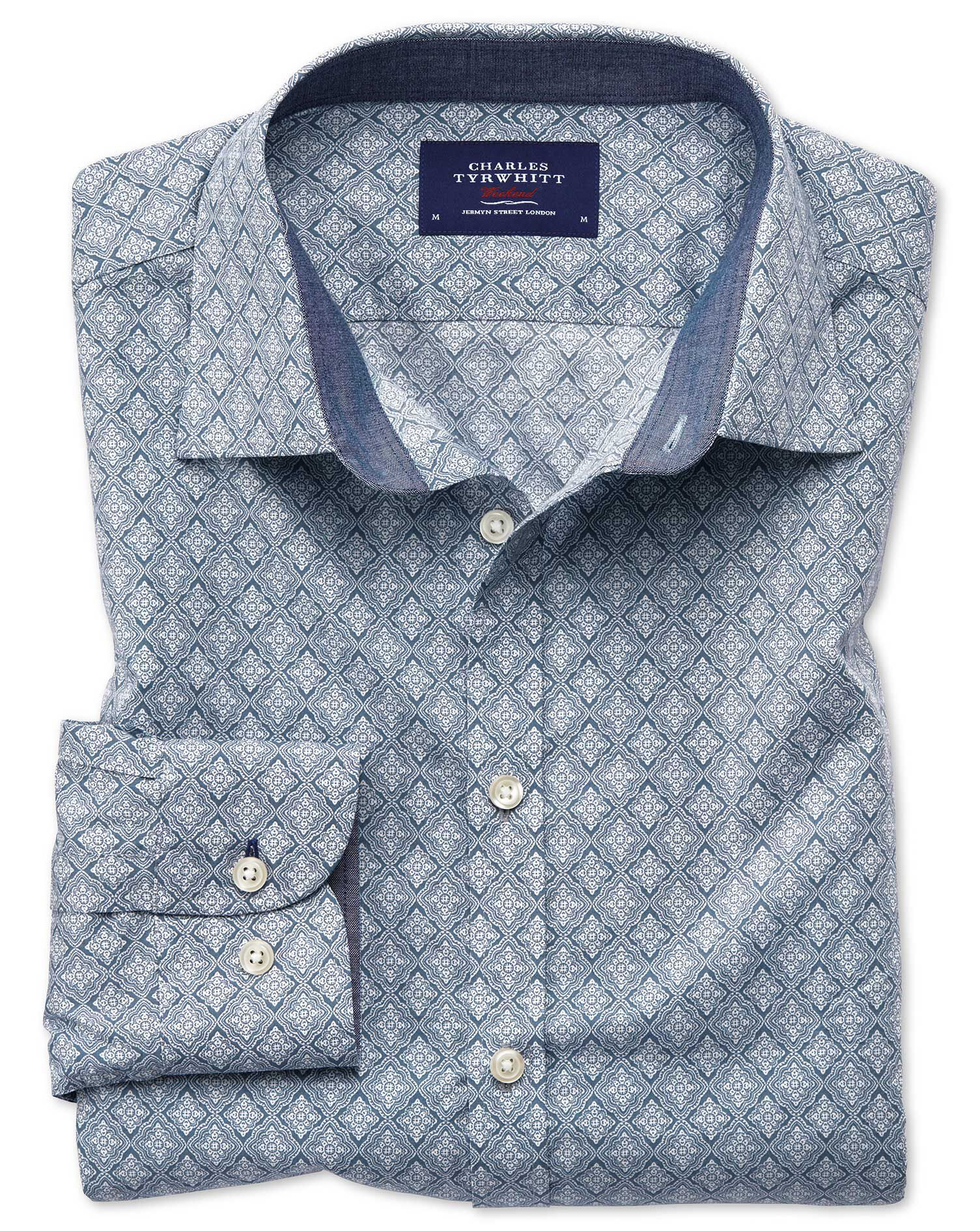 Extra Slim Fit Light Grey Diamond Print Cotton Shirt Single Cuff Size XXL by Charles Tyrwhitt