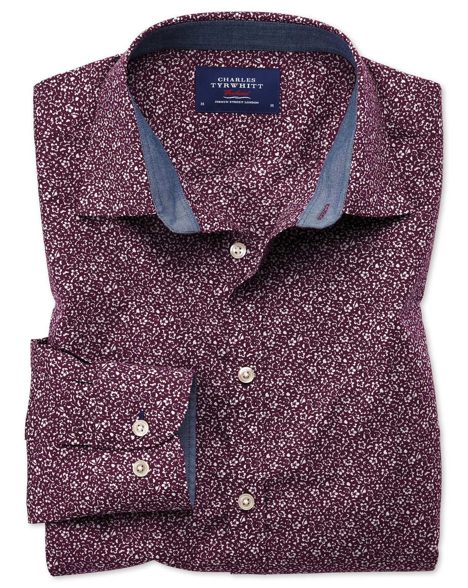 Extra Slim Fit Purple Floral Print Cotton Shirt Single Cuff Size Large by Charles Tyrwhitt