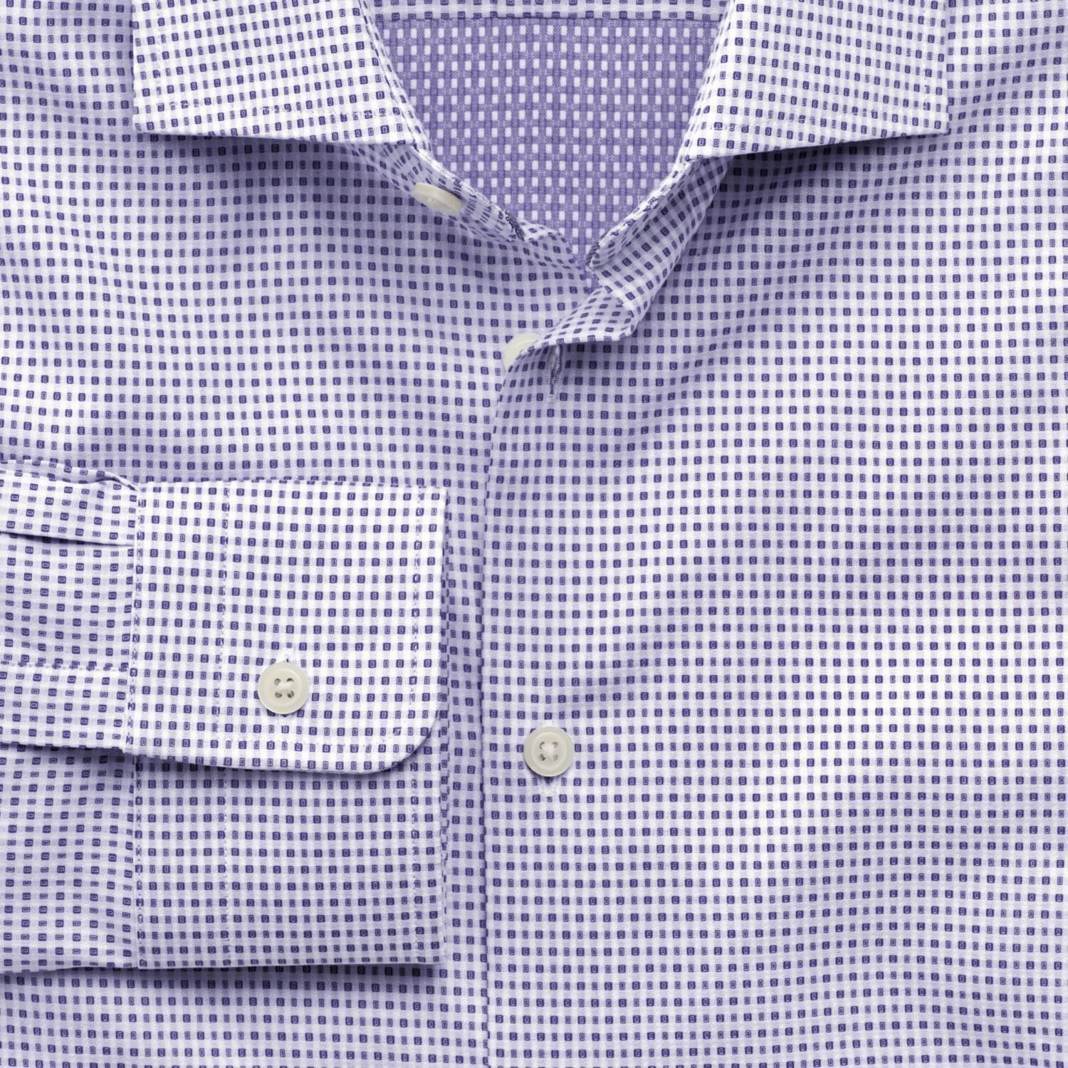 Slim Fit Semi-Cutaway Collar Business Casual Square Double Face Purple Egyptian Cotton Formal Shirt