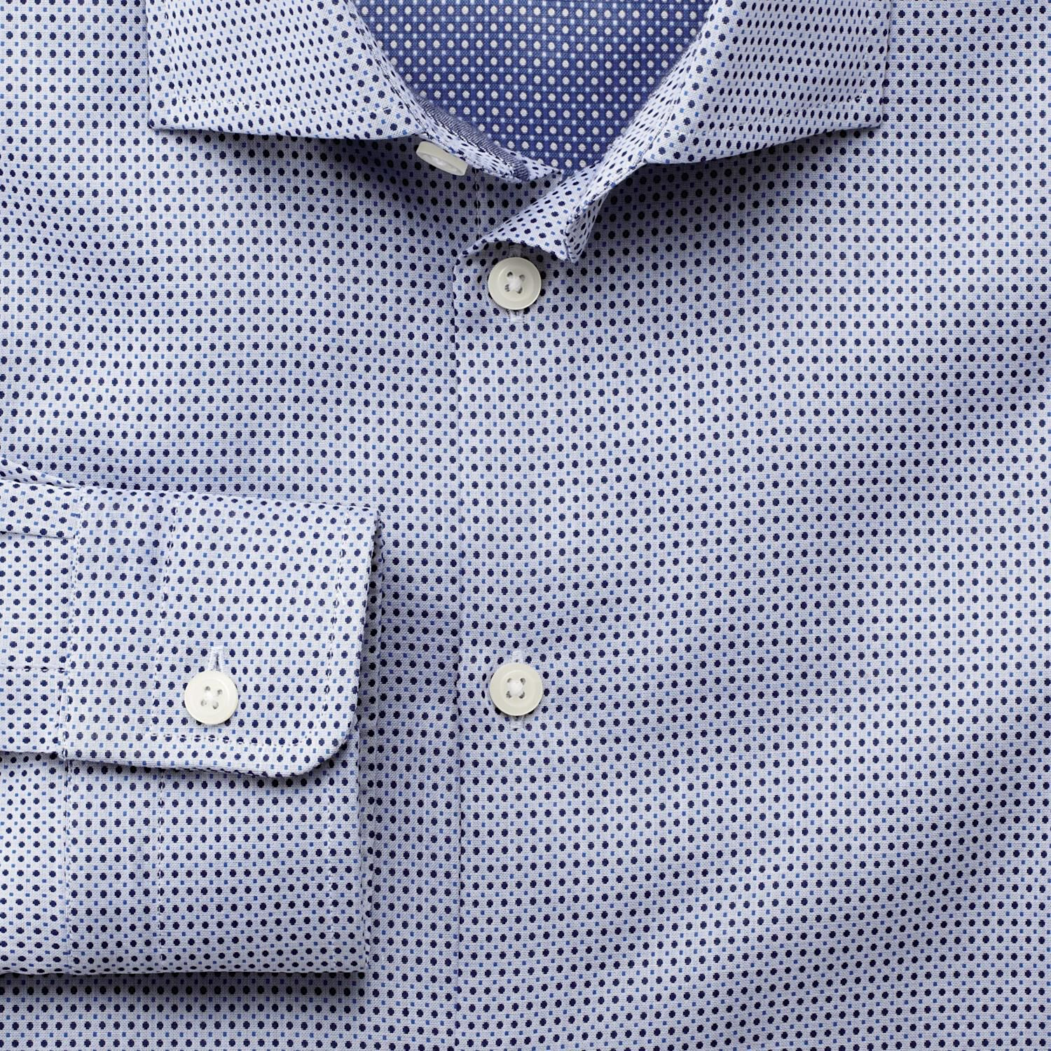 Extra Slim Fit Semi-Cutaway Collar Business Casual Circles Double Face Blue Egyptian Cotton Formal S