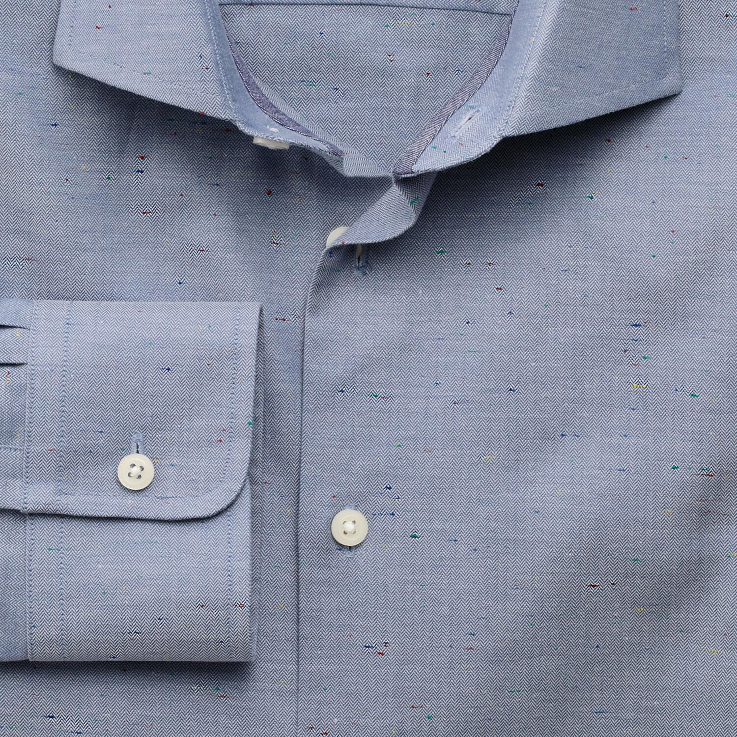 Slim Fit Semi-Cutaway Collar Business Casual Herringbone Fleck Blue Cotton Formal Shirt Single Cuff