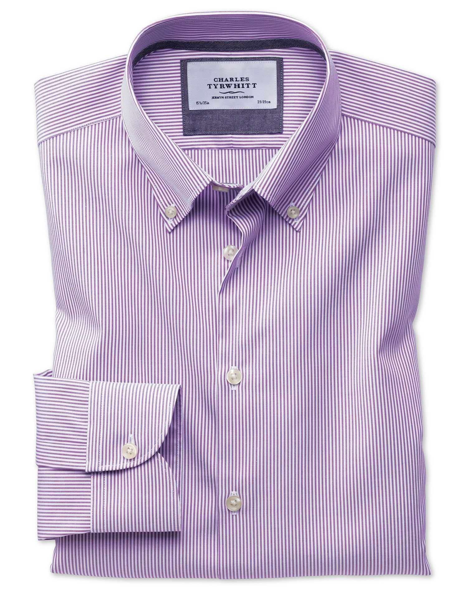 Slim Fit Button-Down Business Casual Non-Iron Violet Stripe Cotton Formal Shirt Single Cuff Size 17.