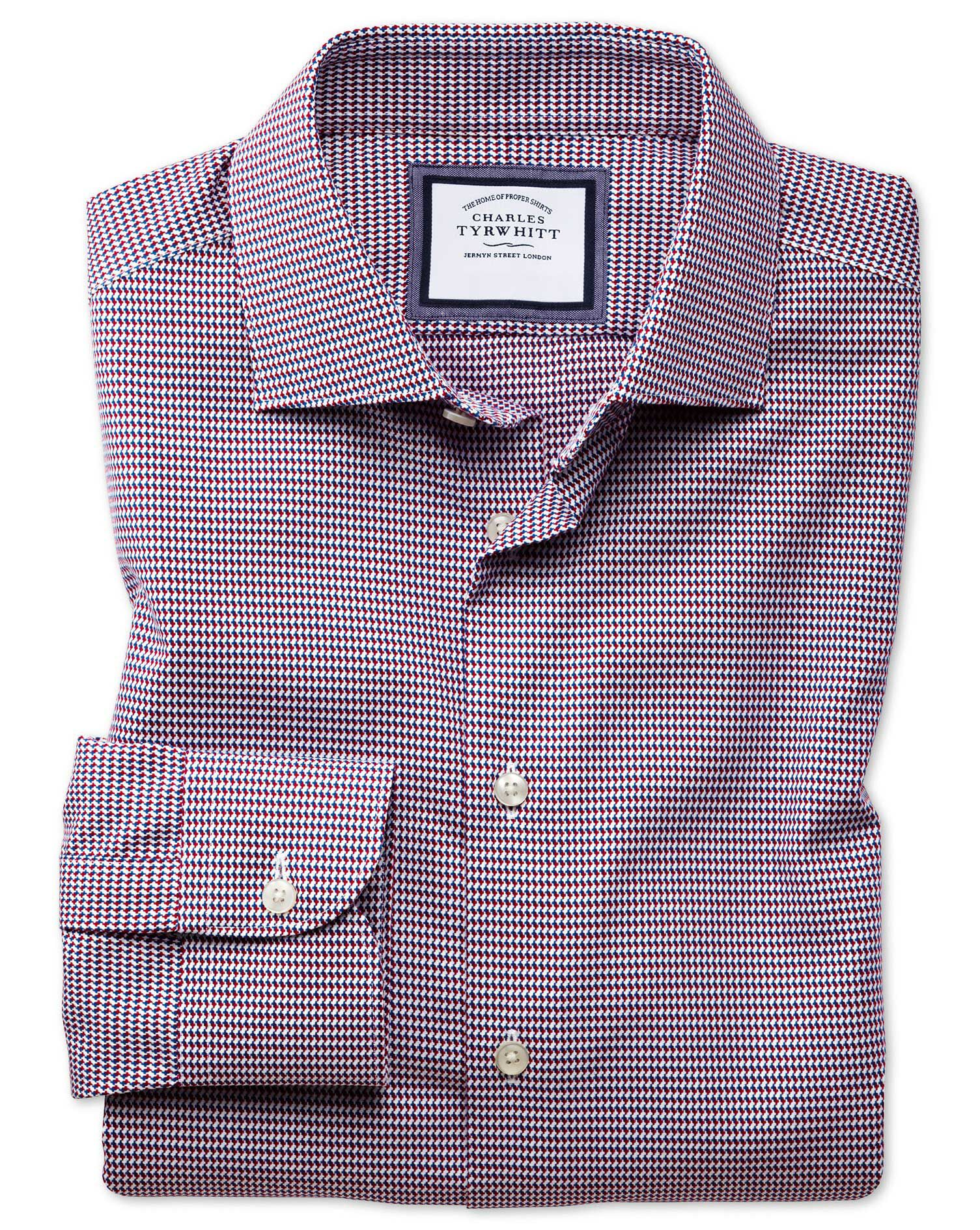 Slim Fit Business Casual Non-Iron Modern Textures Red Multi Cotton Formal Shirt Single Cuff Size 16/