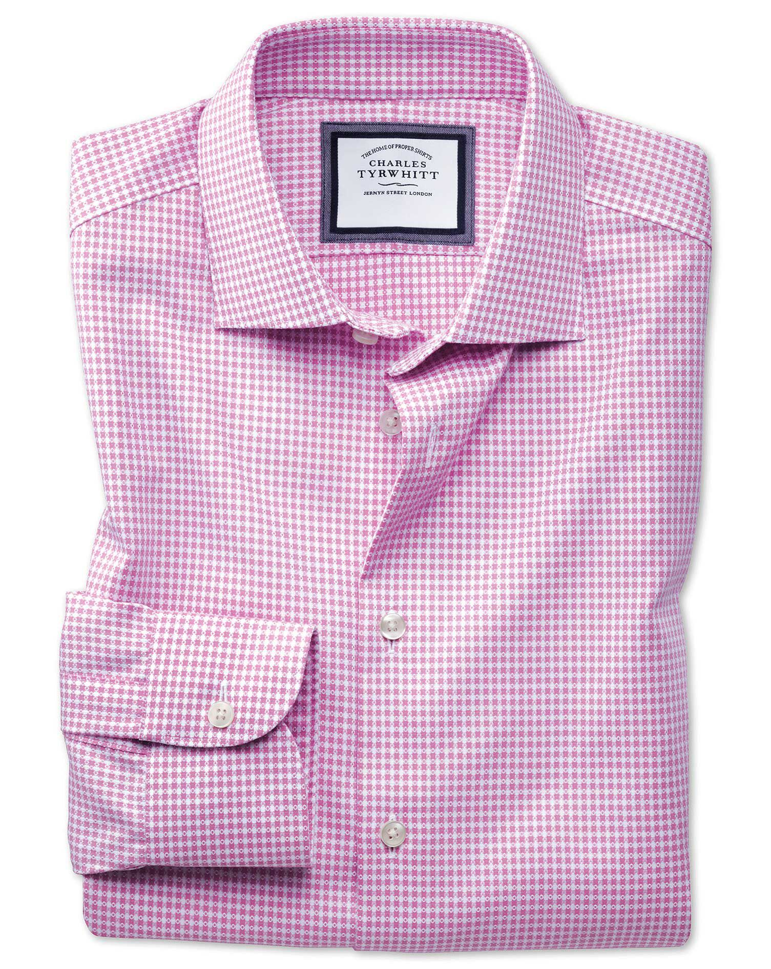 Slim Fit Business Casual Non-Iron Modern Textures Pink and White Cotton Formal Shirt Single Cuff Siz