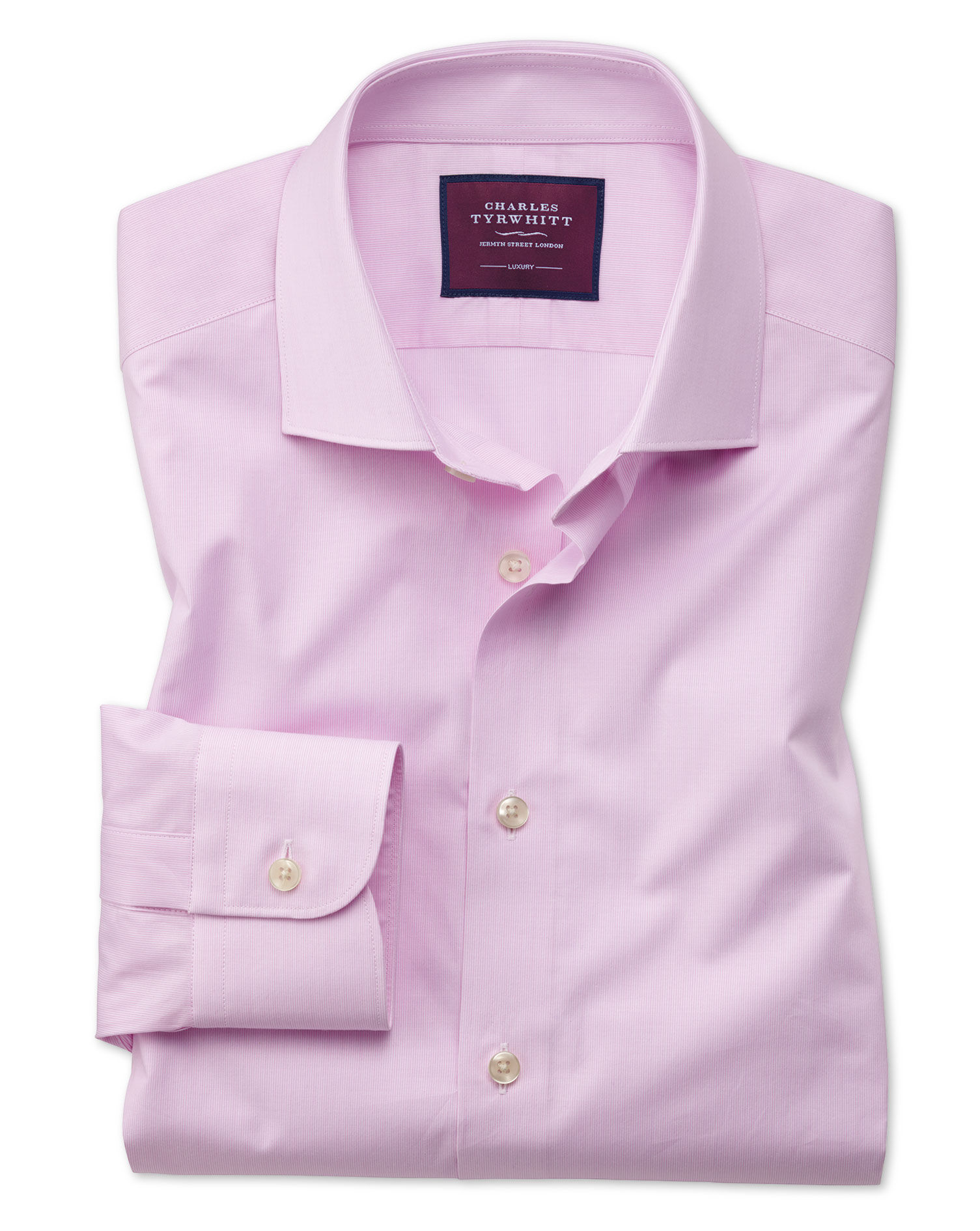Classic Fit Pink Fine Stripe Luxury Cotton Formal Shirt Single Cuff Size 17.5/35 by Charles Tyrwhitt