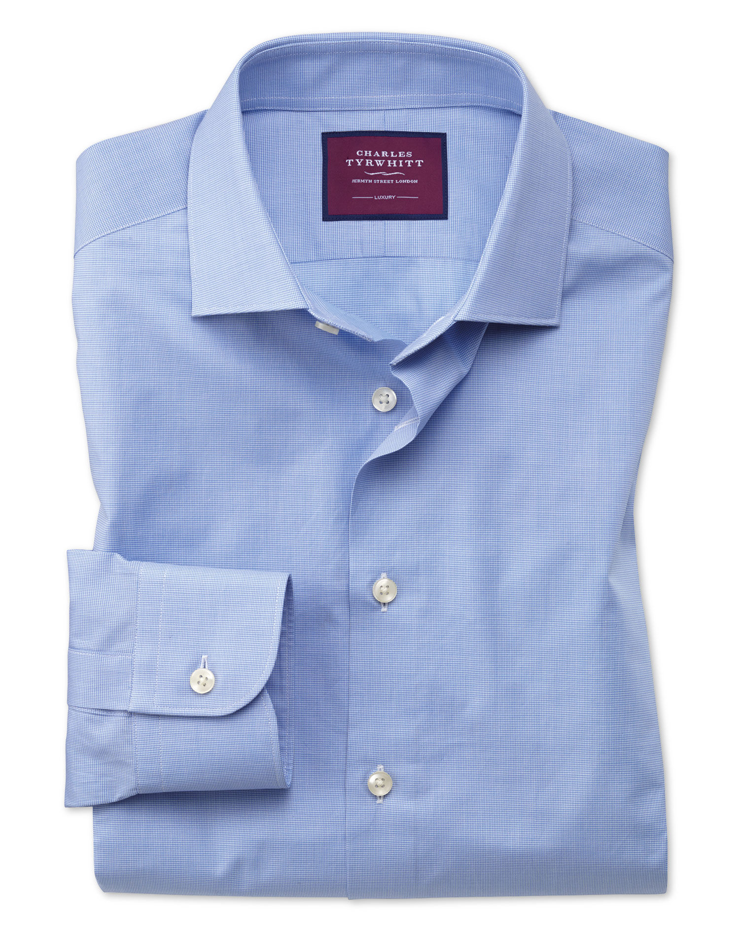 Classic Fit Blue Small Puppytooth Luxury Cotton Formal Shirt Single Cuff Size 18/35 by Charles Tyrwh