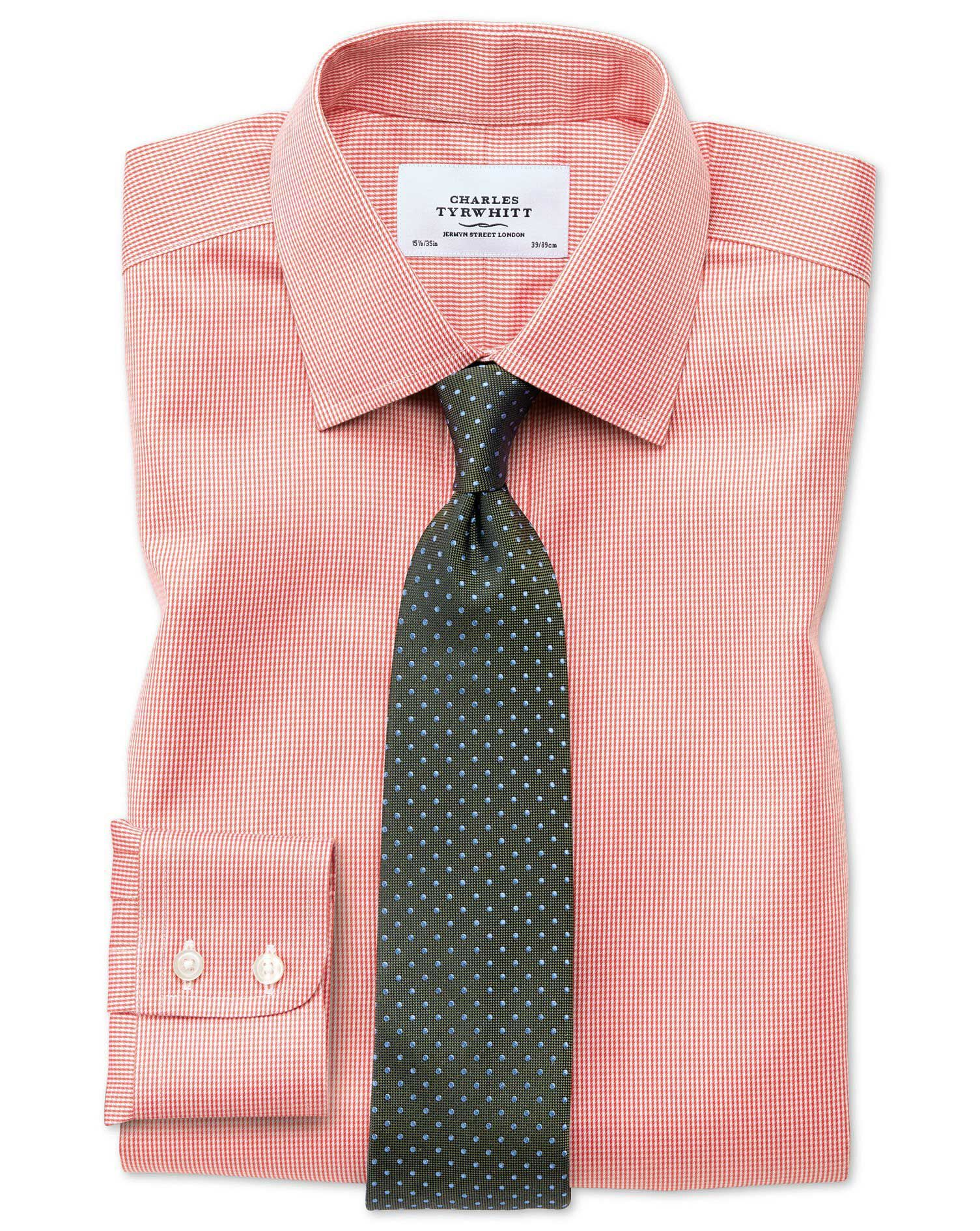 Classic Fit Non-Iron Puppytooth Coral Cotton Formal Shirt Double Cuff Size 17.5/34 by Charles Tyrwhi