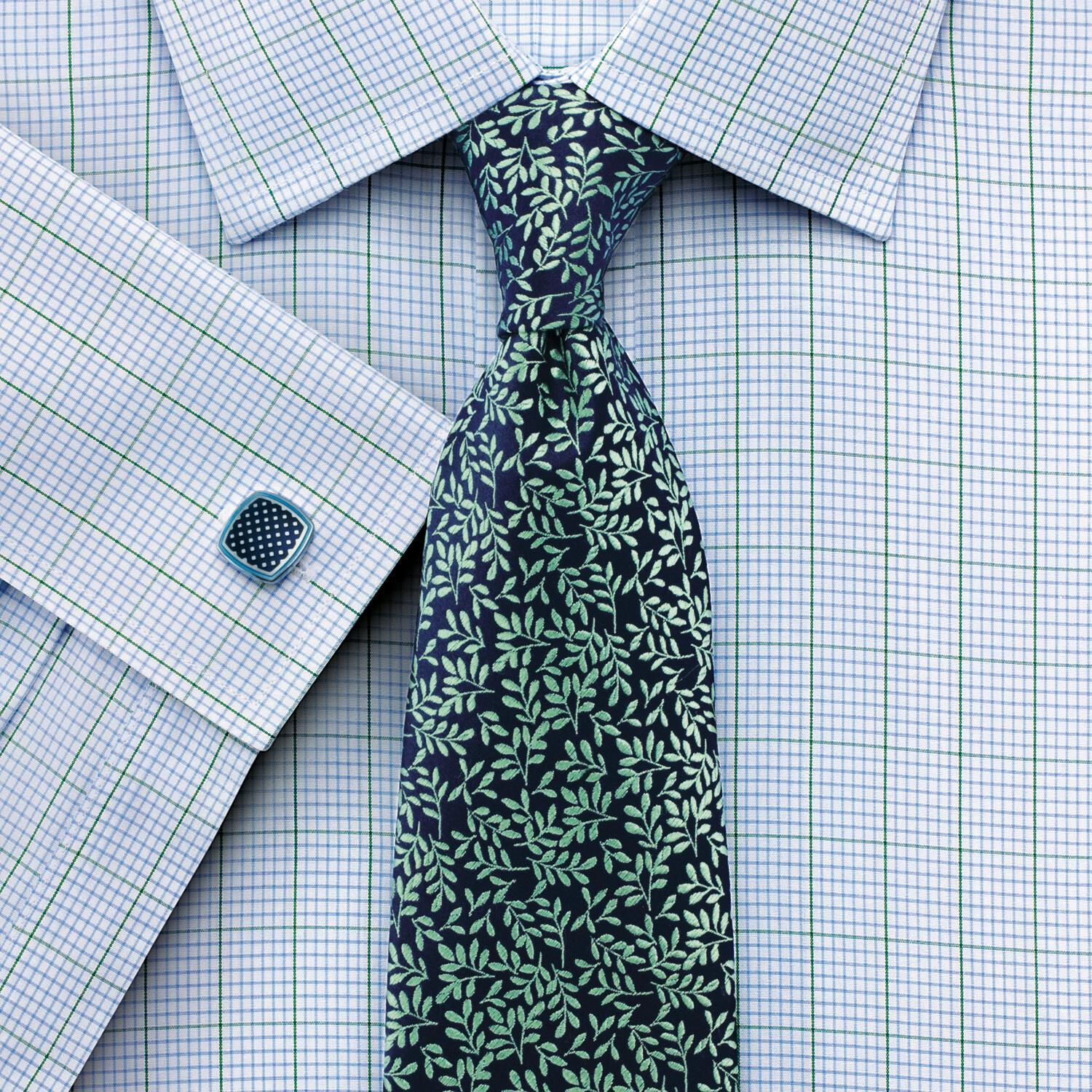 Classic Fit Non-Iron Check Green Cotton Formal Shirt Double Cuff Size 17/37 by Charles Tyrwhitt