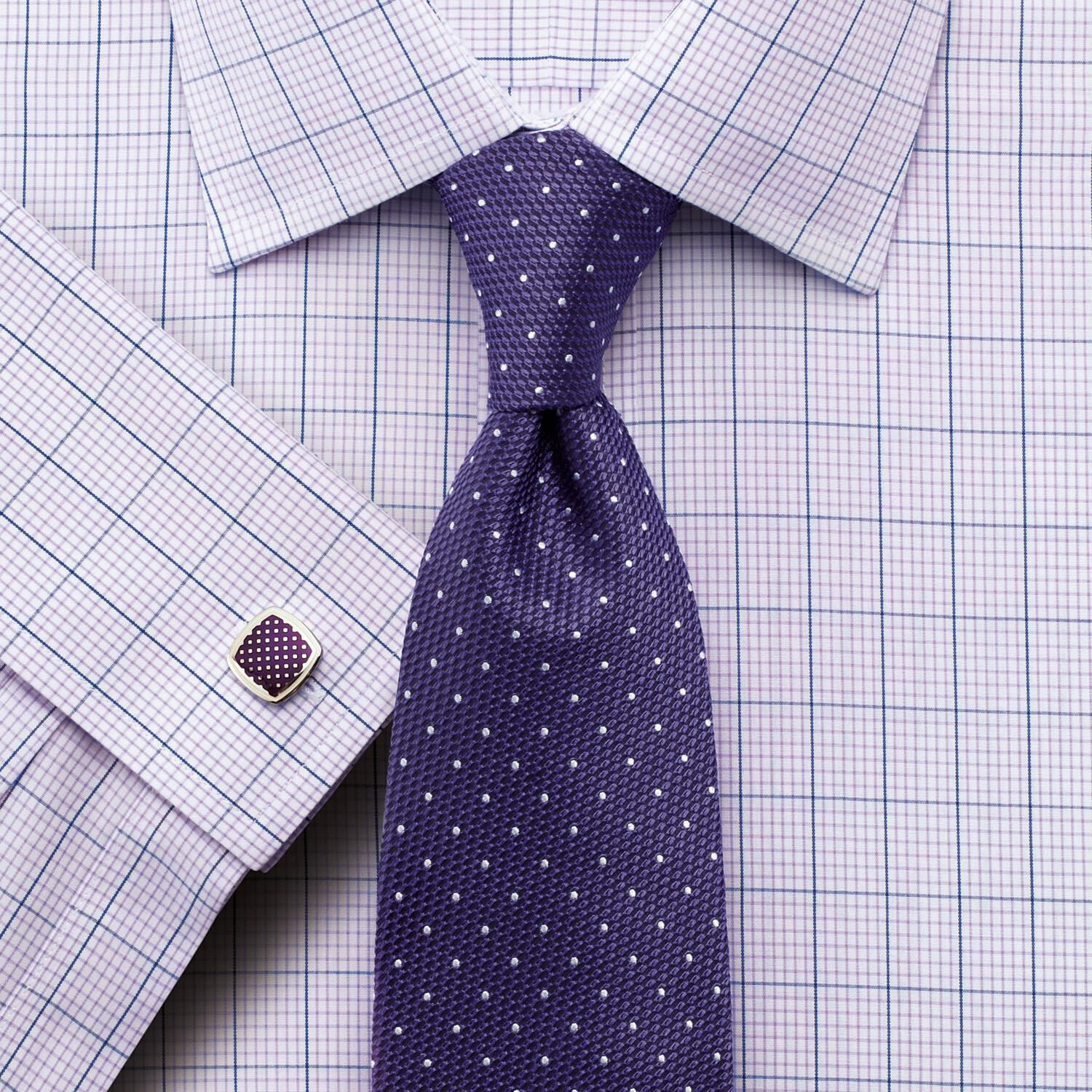 Charles Tyrwhitt Classic Fit Non-Iron Check Lilac Cotton Formal Shirt Size 15/35