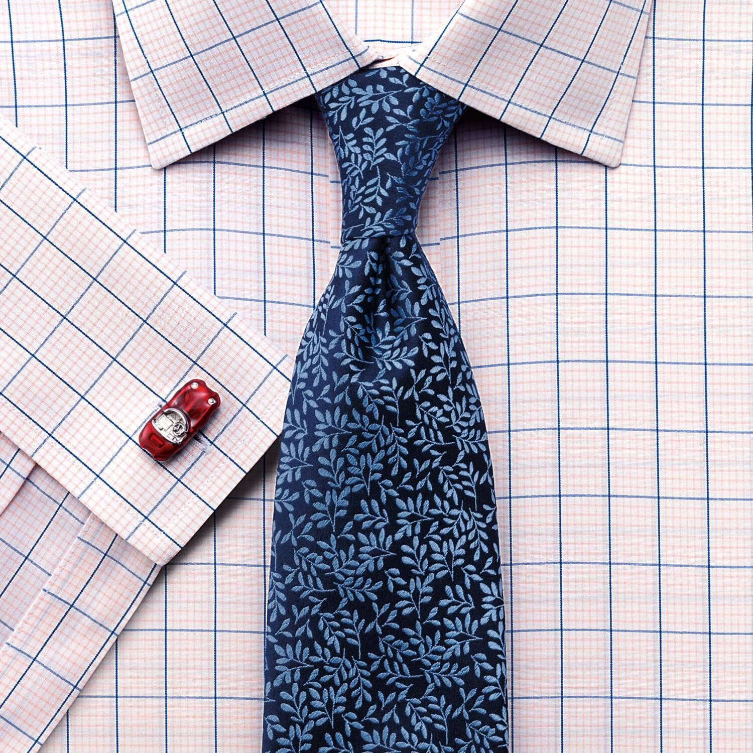 Classic Fit Non-Iron Check Pink Cotton Formal Shirt Single Cuff Size 15/35 by Charles Tyrwhitt