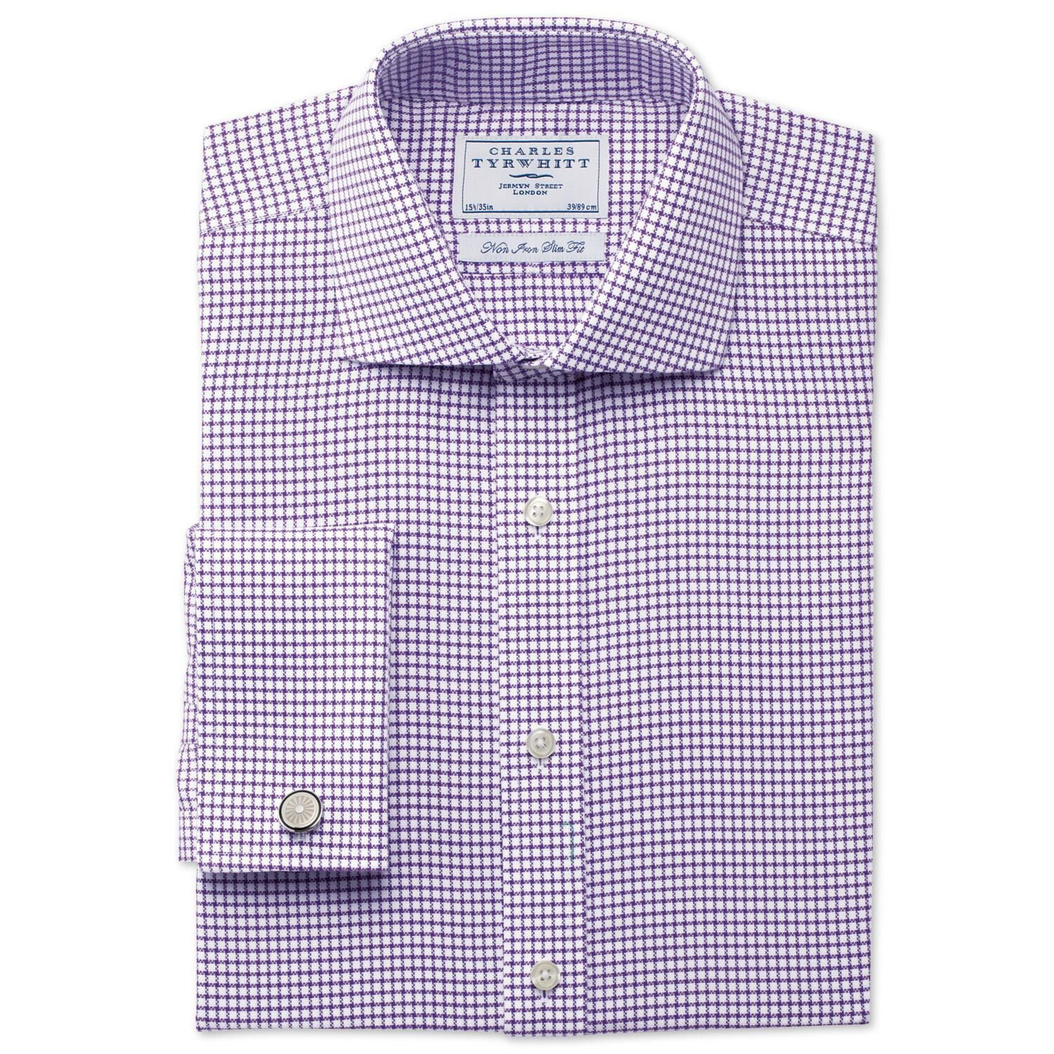 Charles Tyrwhitt Slim Fit Non-Iron Cutaway Collar Basketweave Check Purple Cotton Formal Shirt Size