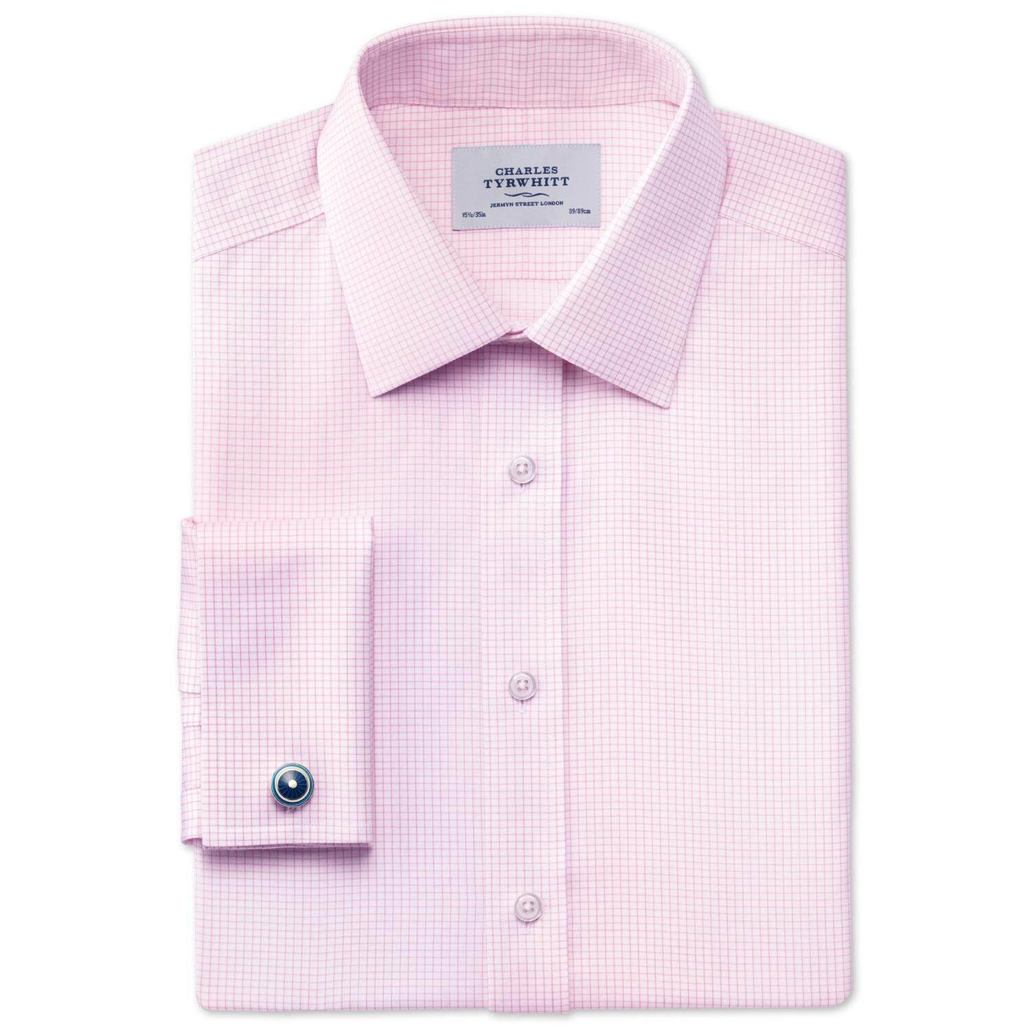 Extra Slim Fit Non-Iron Windsor Check Pink Cotton Formal Shirt Double Cuff Size 15/35 by Charles Tyr