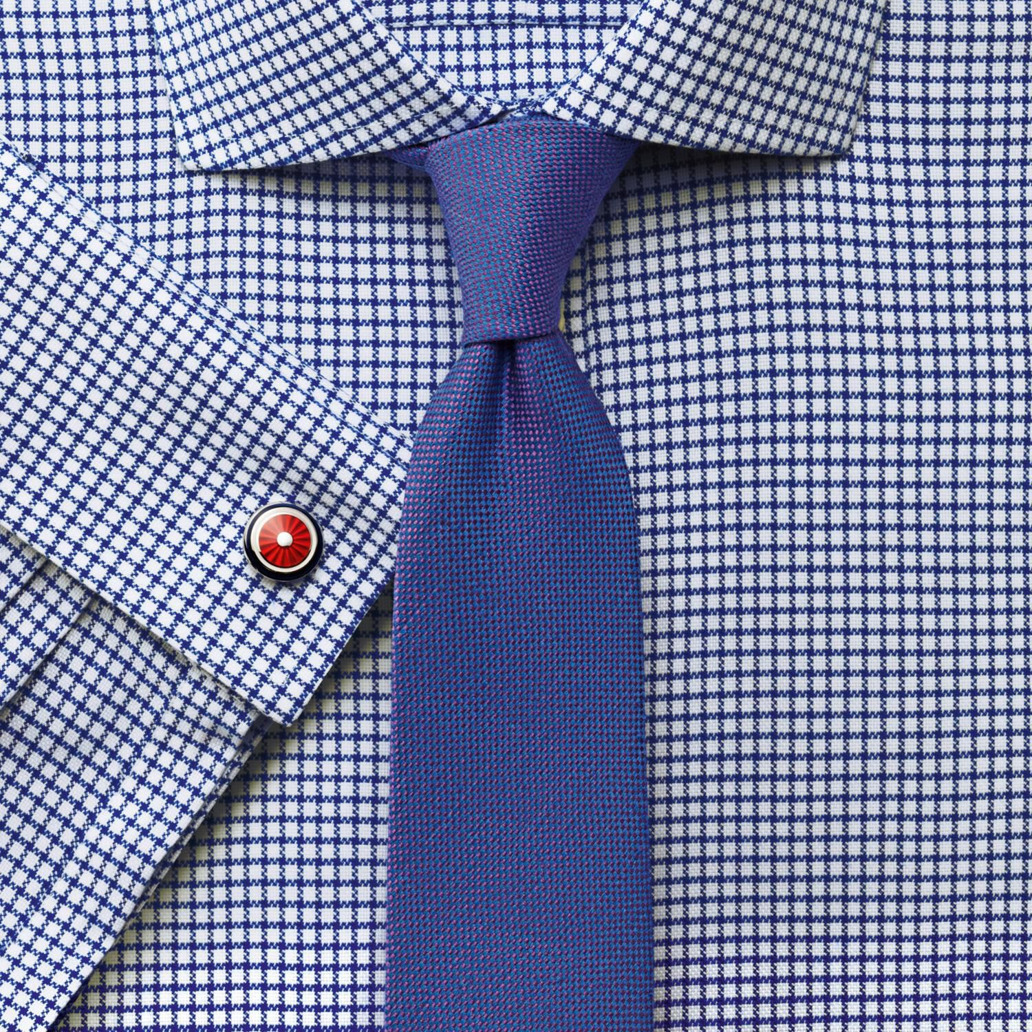 Extra Slim Fit Non Iron Cutaway Collar Basketweave Check Navy Cotton Formal Shirt Double Cuff Size 1
