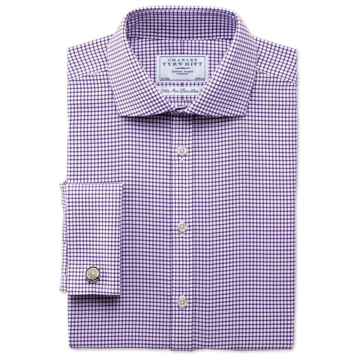 Extra Slim Fit Non-Iron Cutaway Collar Basketweave Check Purple Cotton Formal Shirt Double Cuff Size