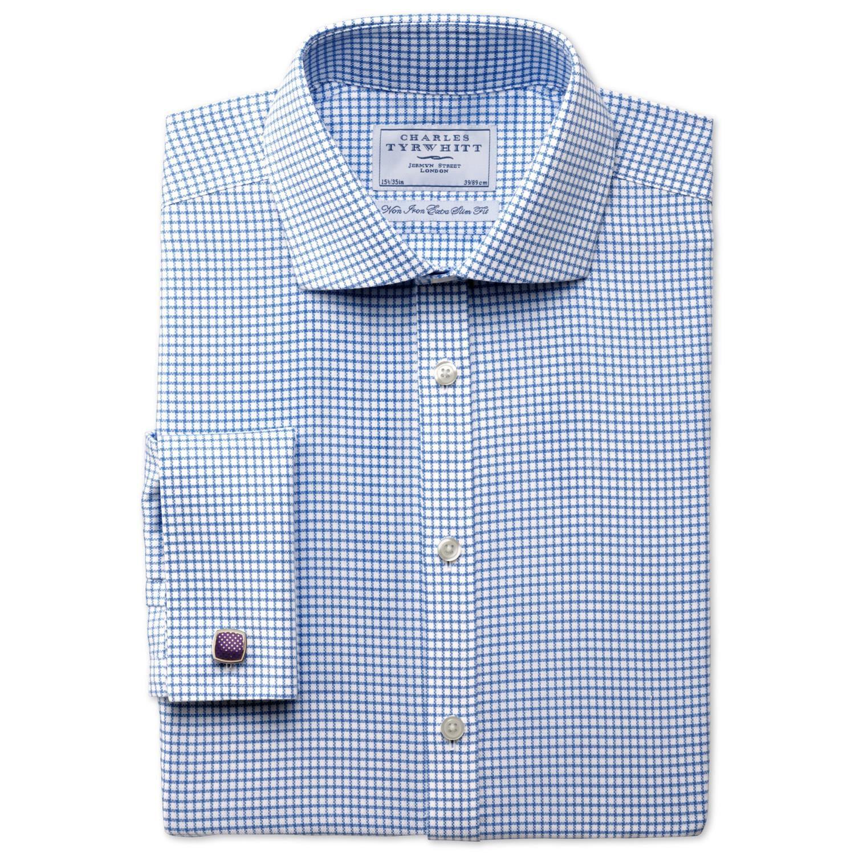 Extra Slim Fit Non-Iron Cutaway Collar Basketweave Check Sky Blue Cotton Formal Shirt Single Cuff Si