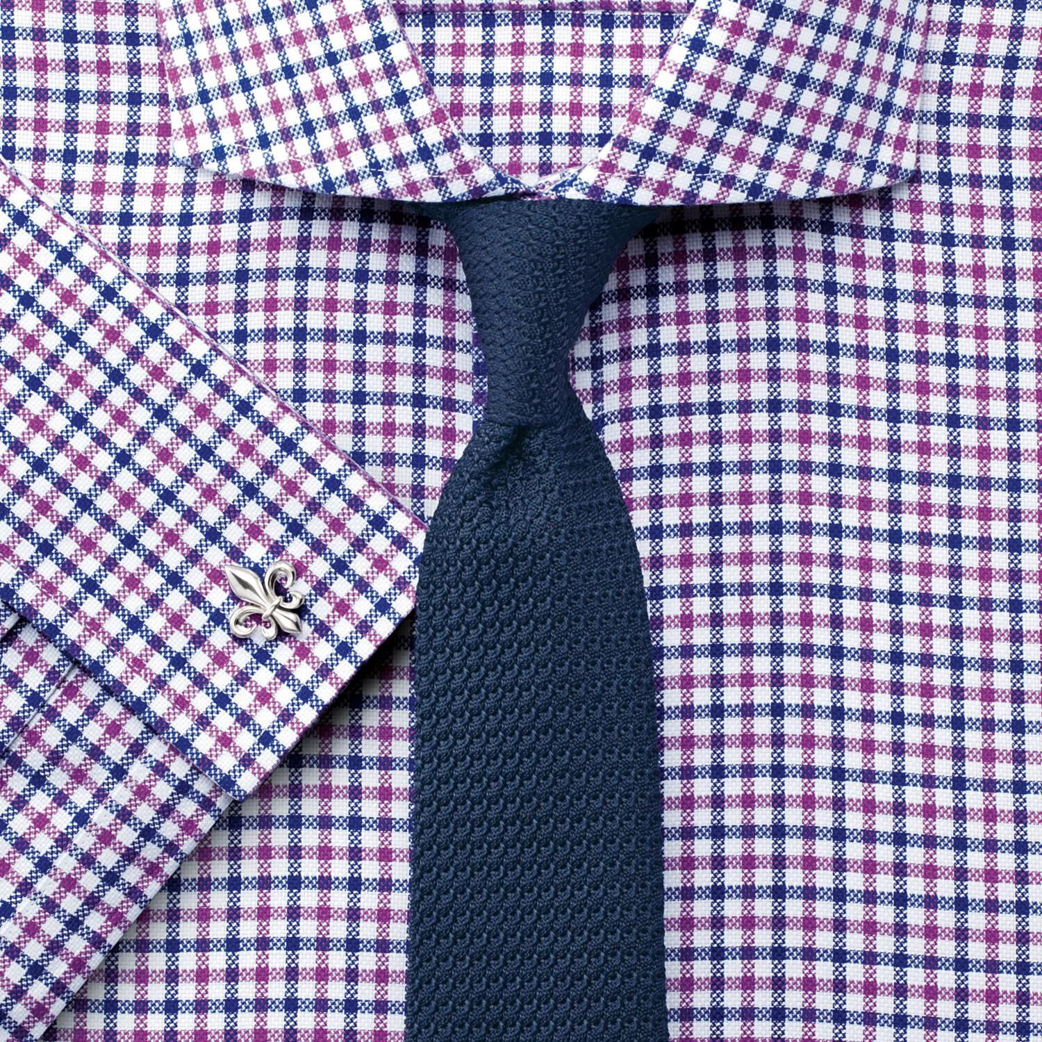 Extra Slim Fit Non-Iron Cutaway Collar Textured Gingham Berry Cotton Formal Shirt Double Cuff Size 1