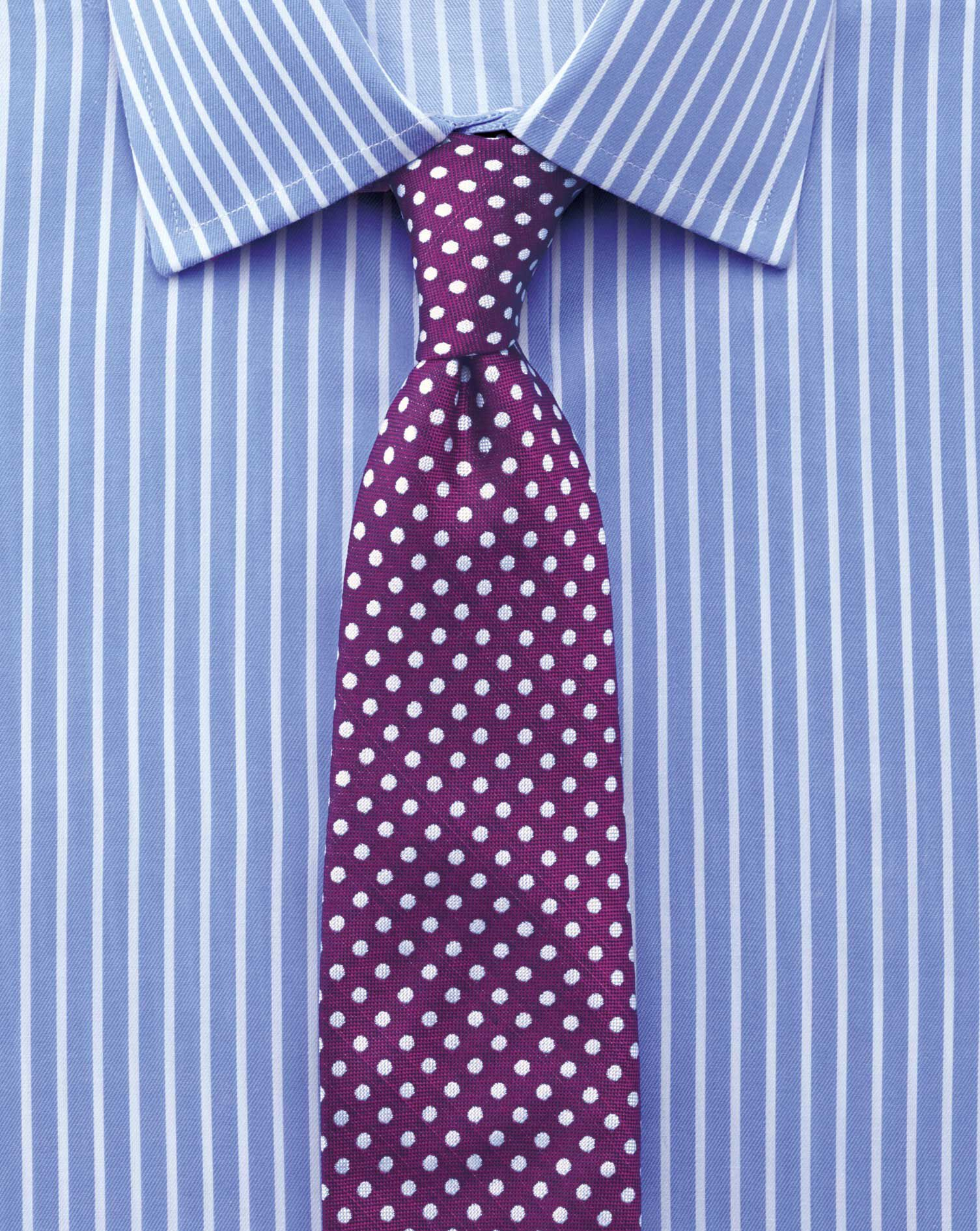 Extra Slim Fit Non-Iron Twill Stripe Sky Cotton Formal Shirt Double Cuff Size 16.5/34 by Charles Tyr