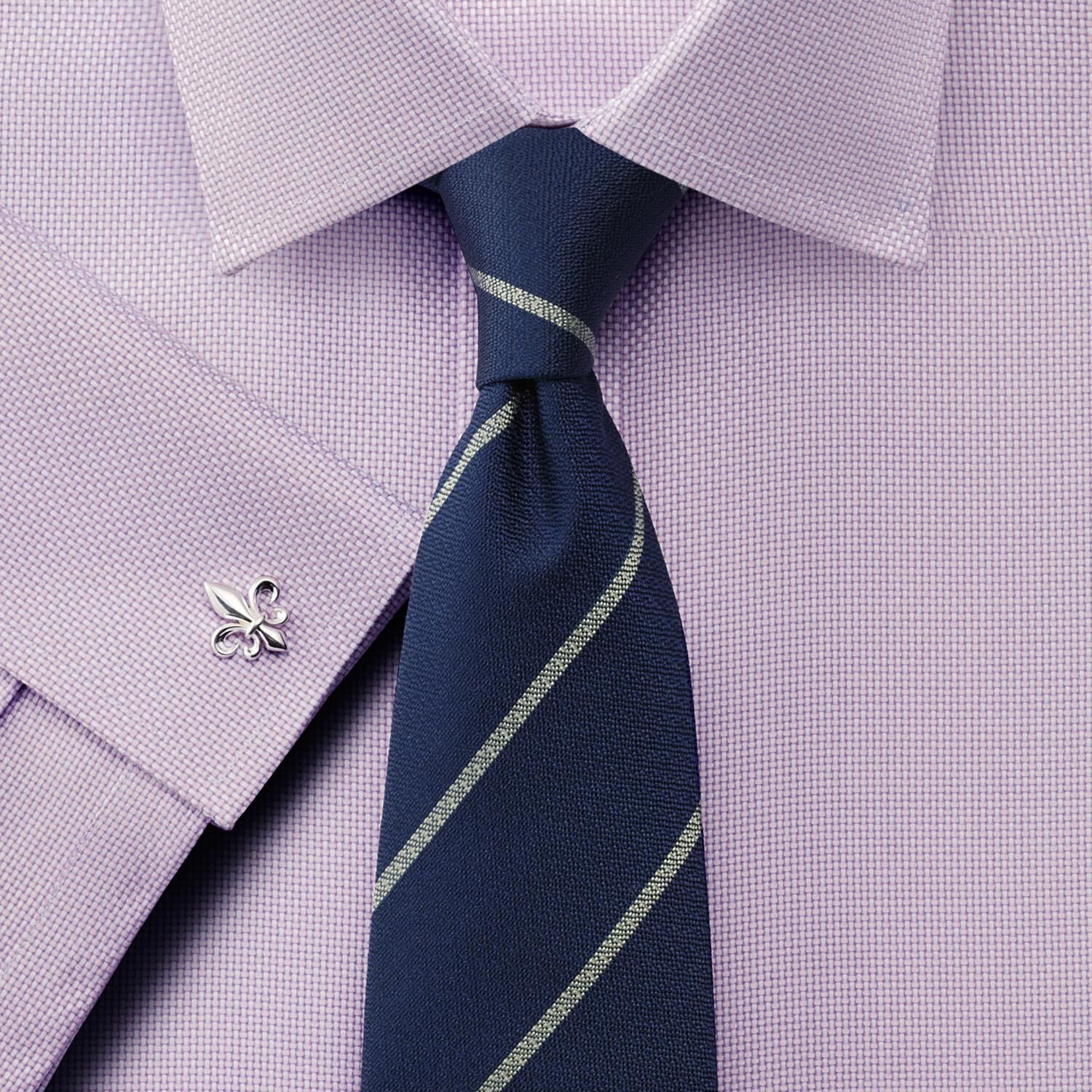 Slim Fit Non-Iron Buckingham Weave Lilac Cotton Formal Shirt Double Cuff Size 16/33 by Charles Tyrwh