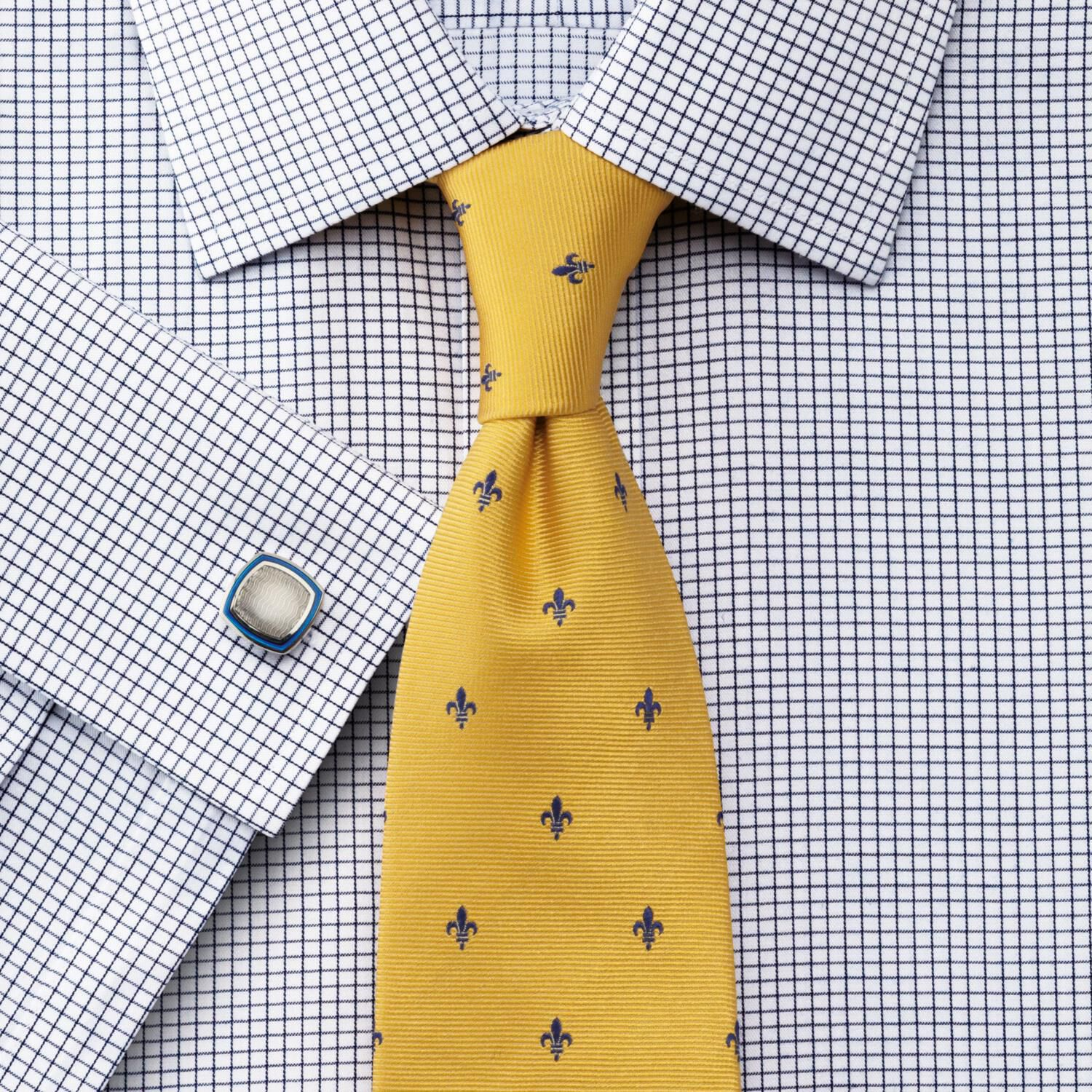 Slim Fit Non-Iron Windsor Check Navy Cotton Formal Shirt Double Cuff Size 17/37 by Charles Tyrwhitt