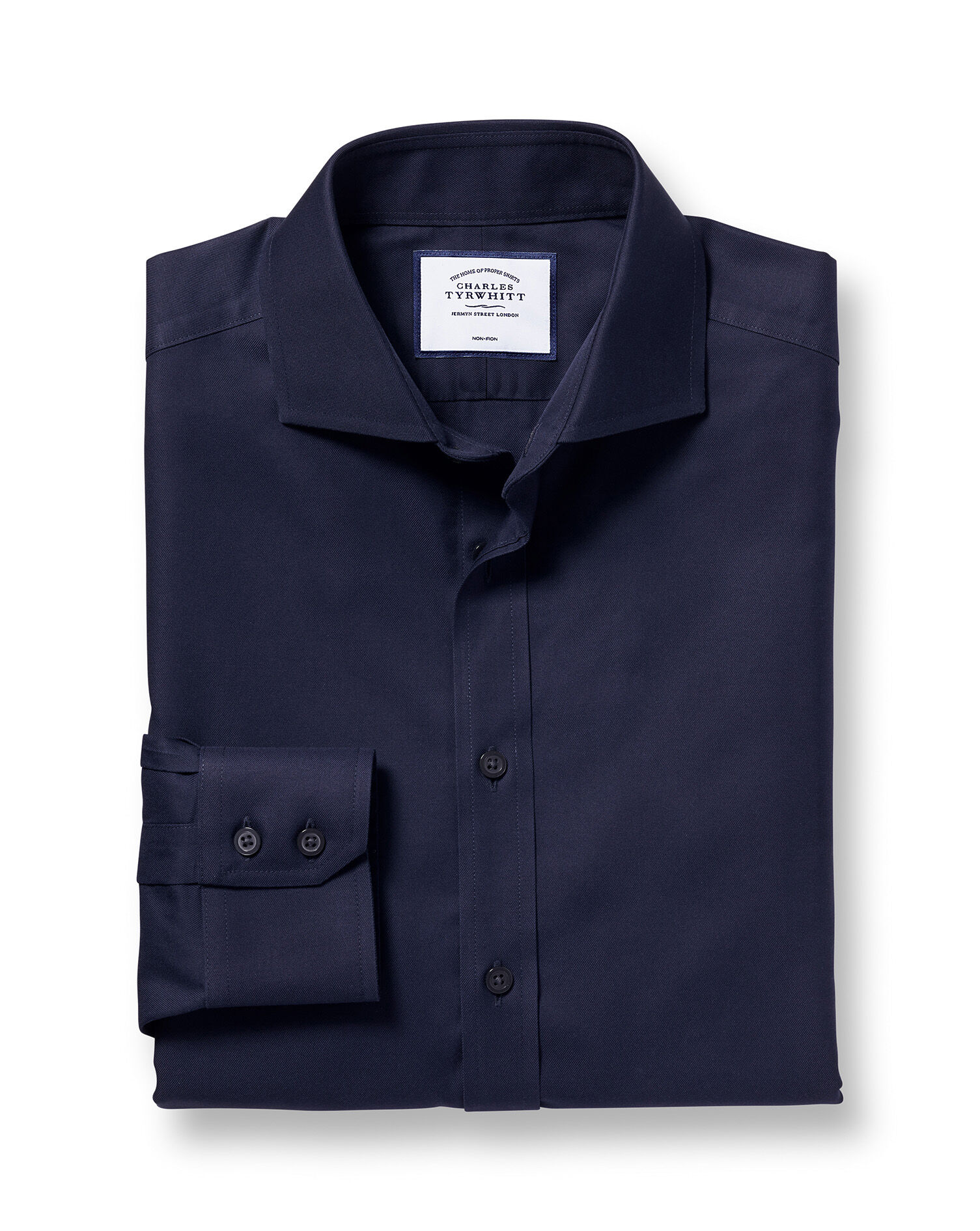 Slim Fit Cutaway Non-Iron Twill Navy Blue Cotton Formal Shirt Double Cuff Size 16.5/34 by Charles Ty