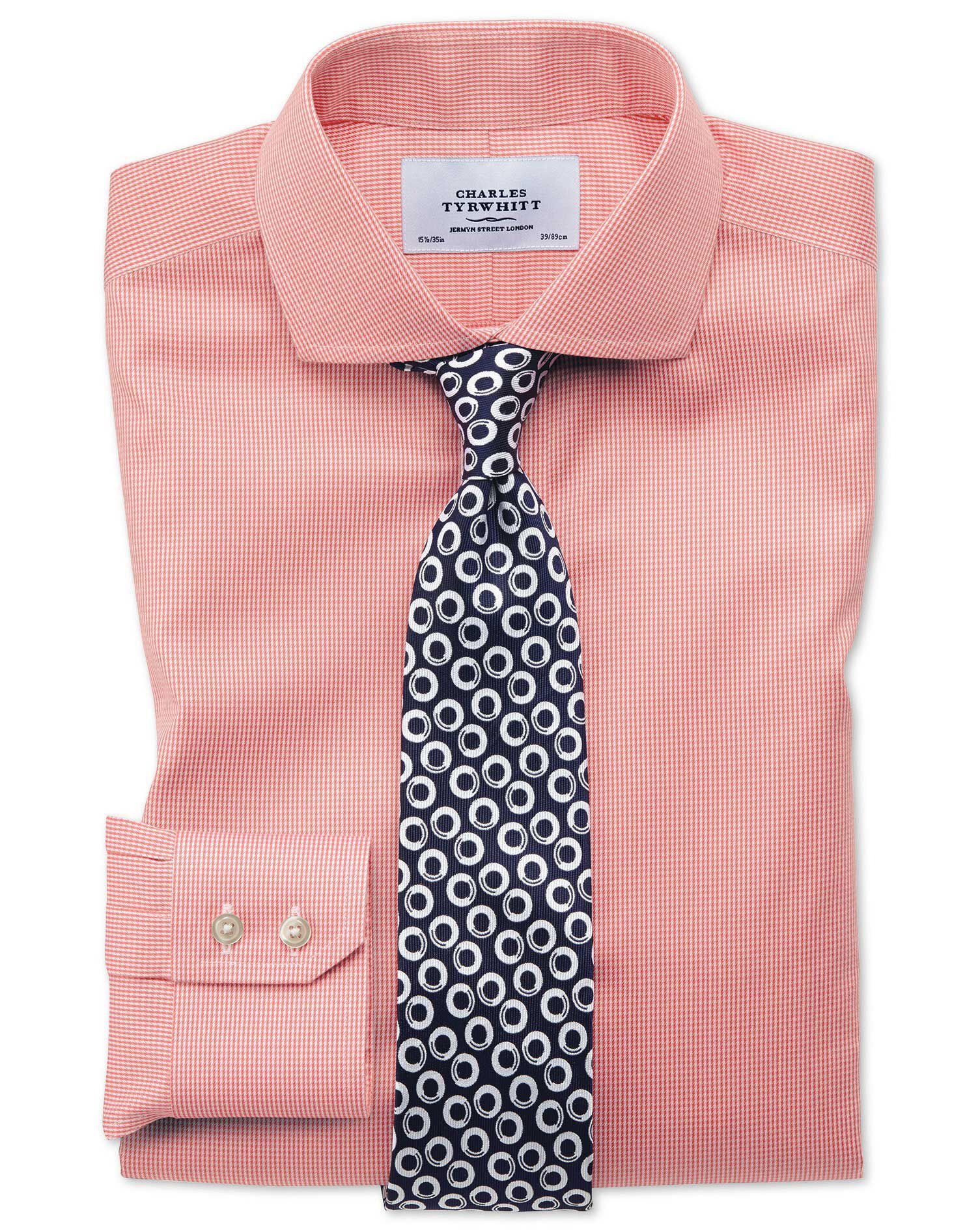 Slim Fit Cutaway Non-Iron Puppytooth Coral Cotton Formal Shirt Single Cuff Size 15/34 by Charles Tyr