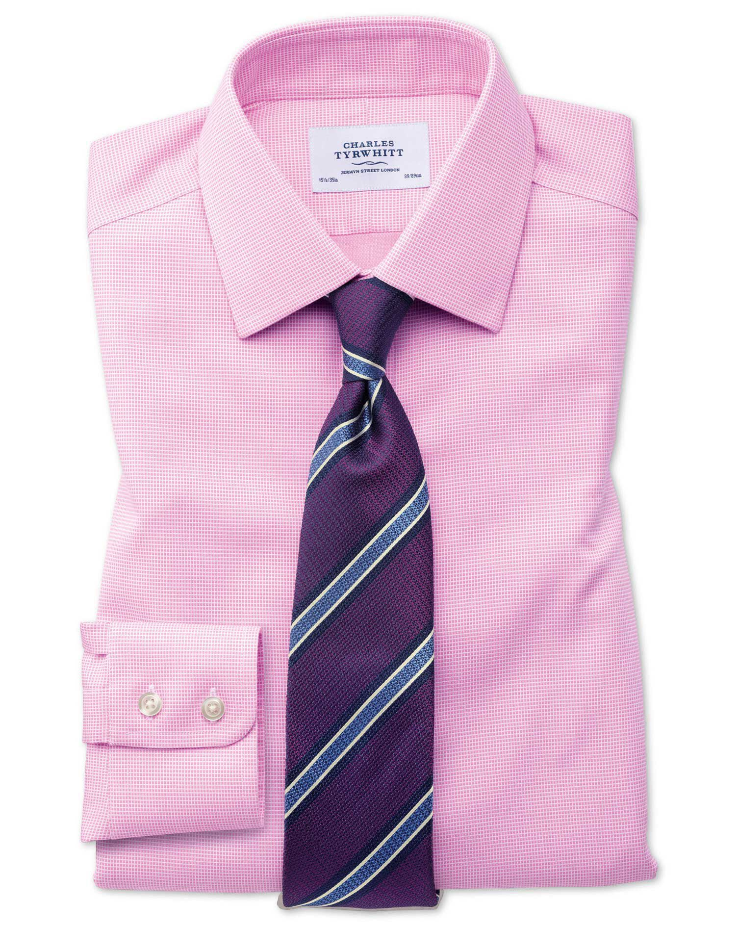 Slim Fit Non-Iron Square Weave Pink Cotton Formal Shirt Double Cuff Size 16/35 by Charles Tyrwhitt