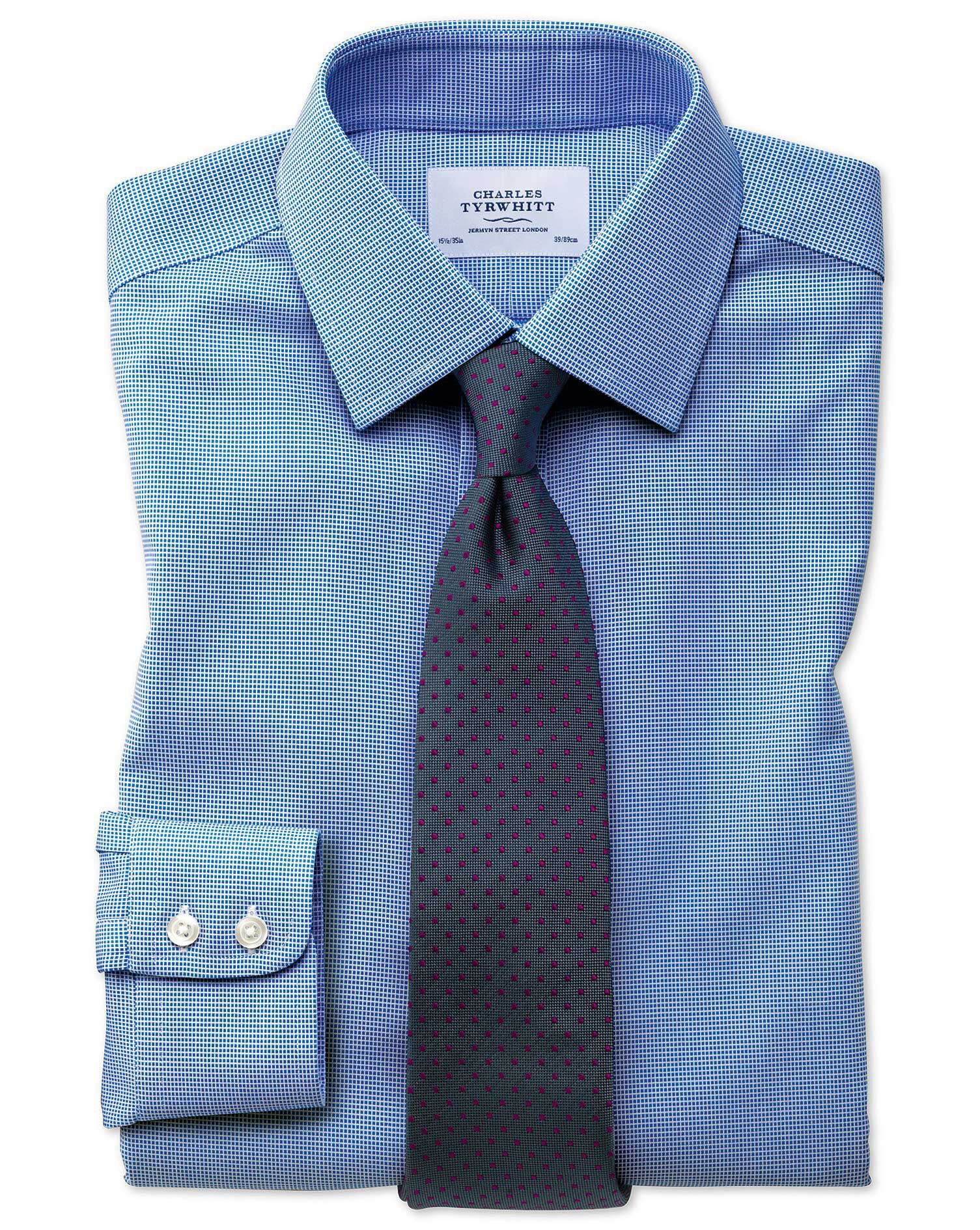 Extra Slim Fit Non-Iron Square Weave Blue Cotton Formal Shirt Single Cuff Size 16/38 by Charles Tyrw