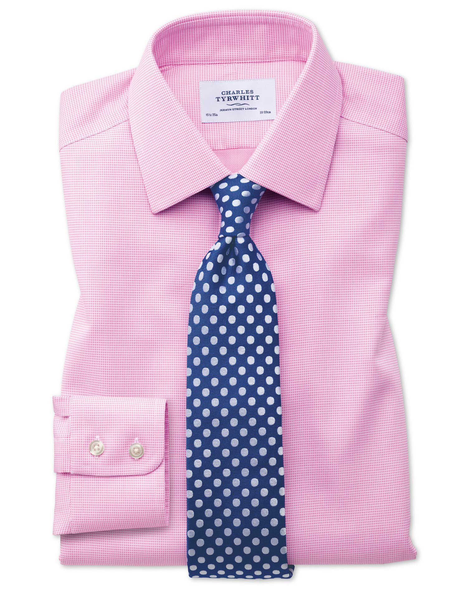 Extra Slim Fit Non-Iron Square Weave Pink Cotton Formal Shirt Single Cuff Size 16.5/35 by Charles Ty