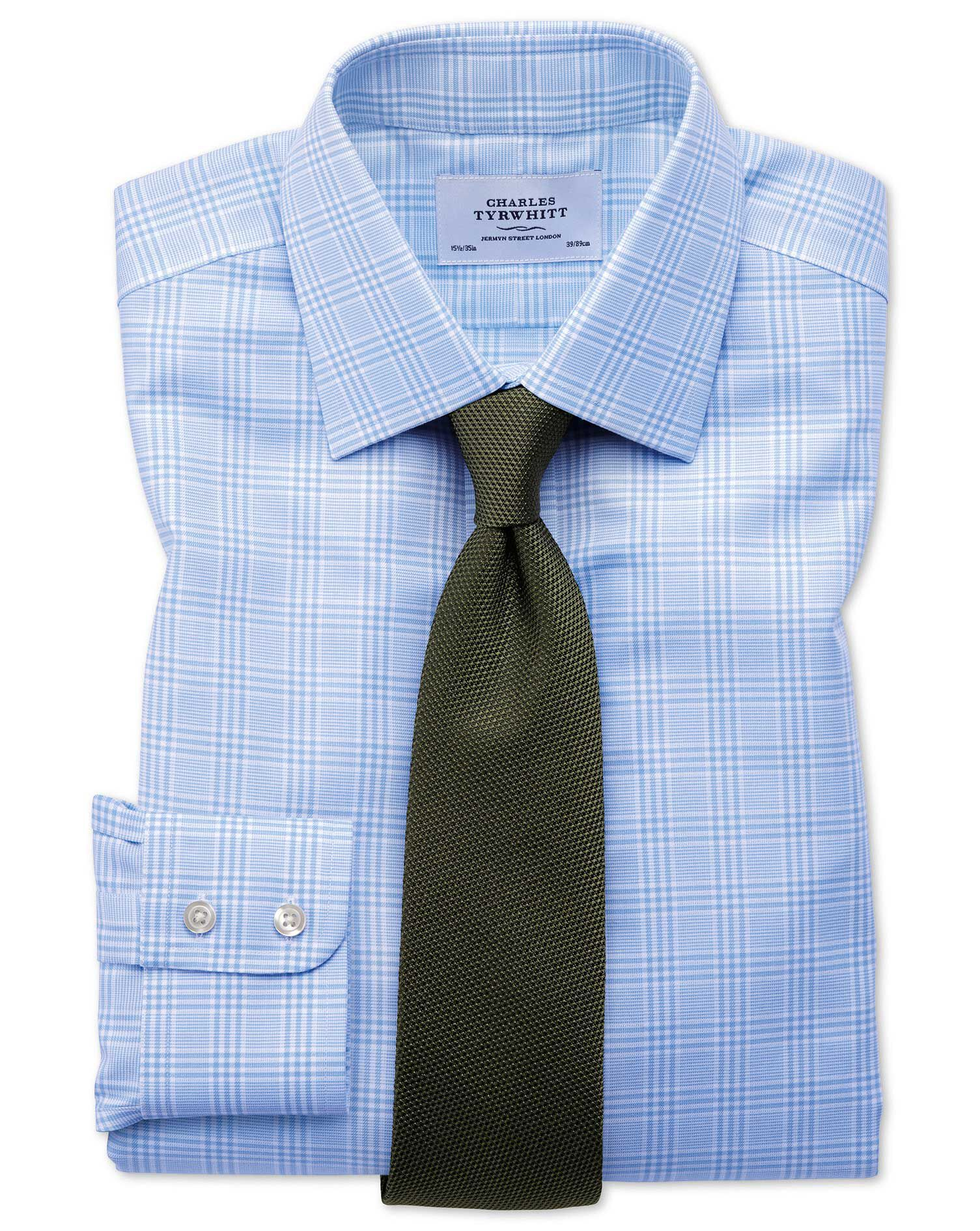 Classic Fit Non-Iron Prince Of Wales Sky Blue Cotton Formal Shirt Single Cuff Size 15.5/37 by Charle
