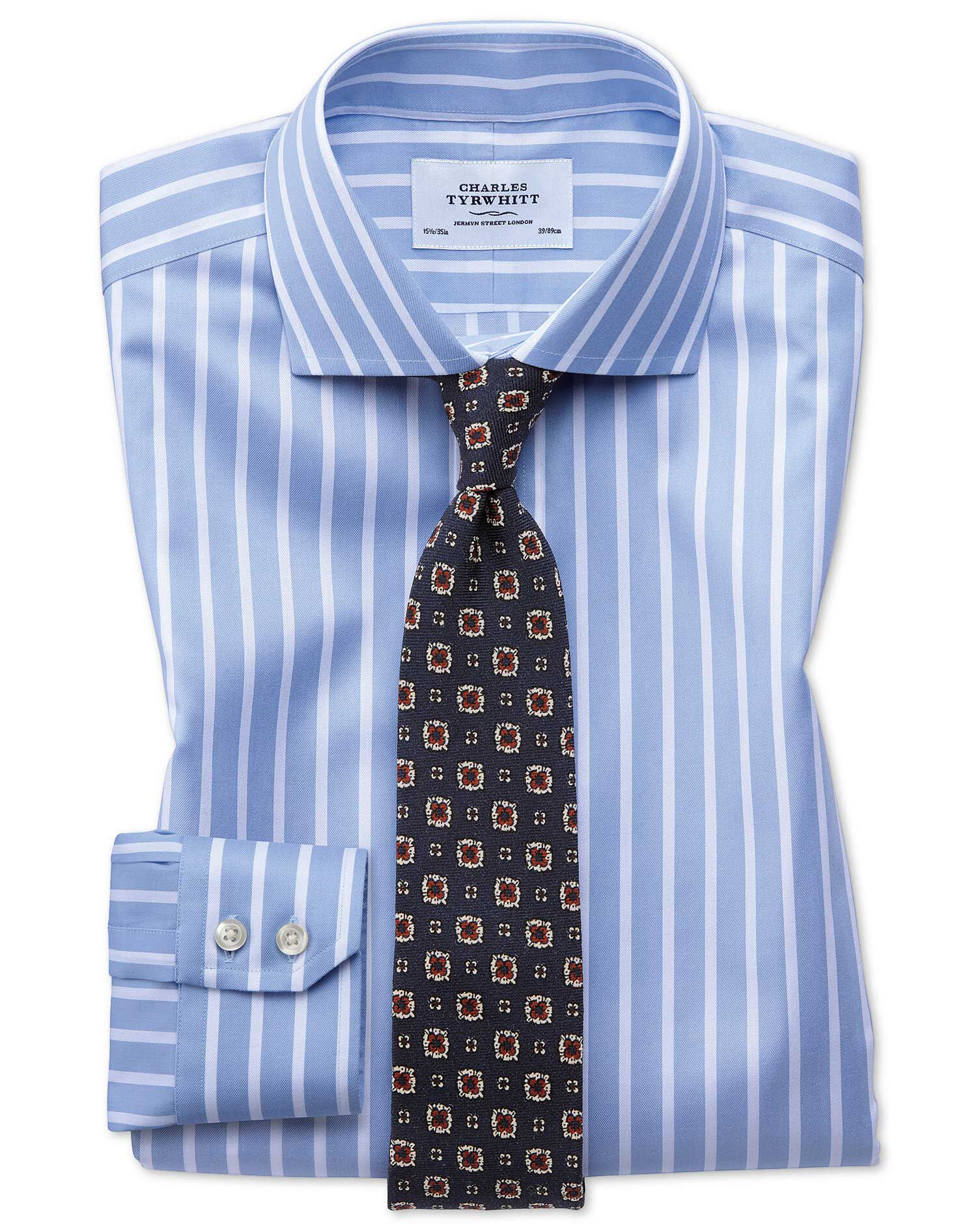 Extra Slim Fit Cutaway Non-Iron Bengal Wide Stripe Sky Blue and White Cotton Formal Shirt Double Cuf
