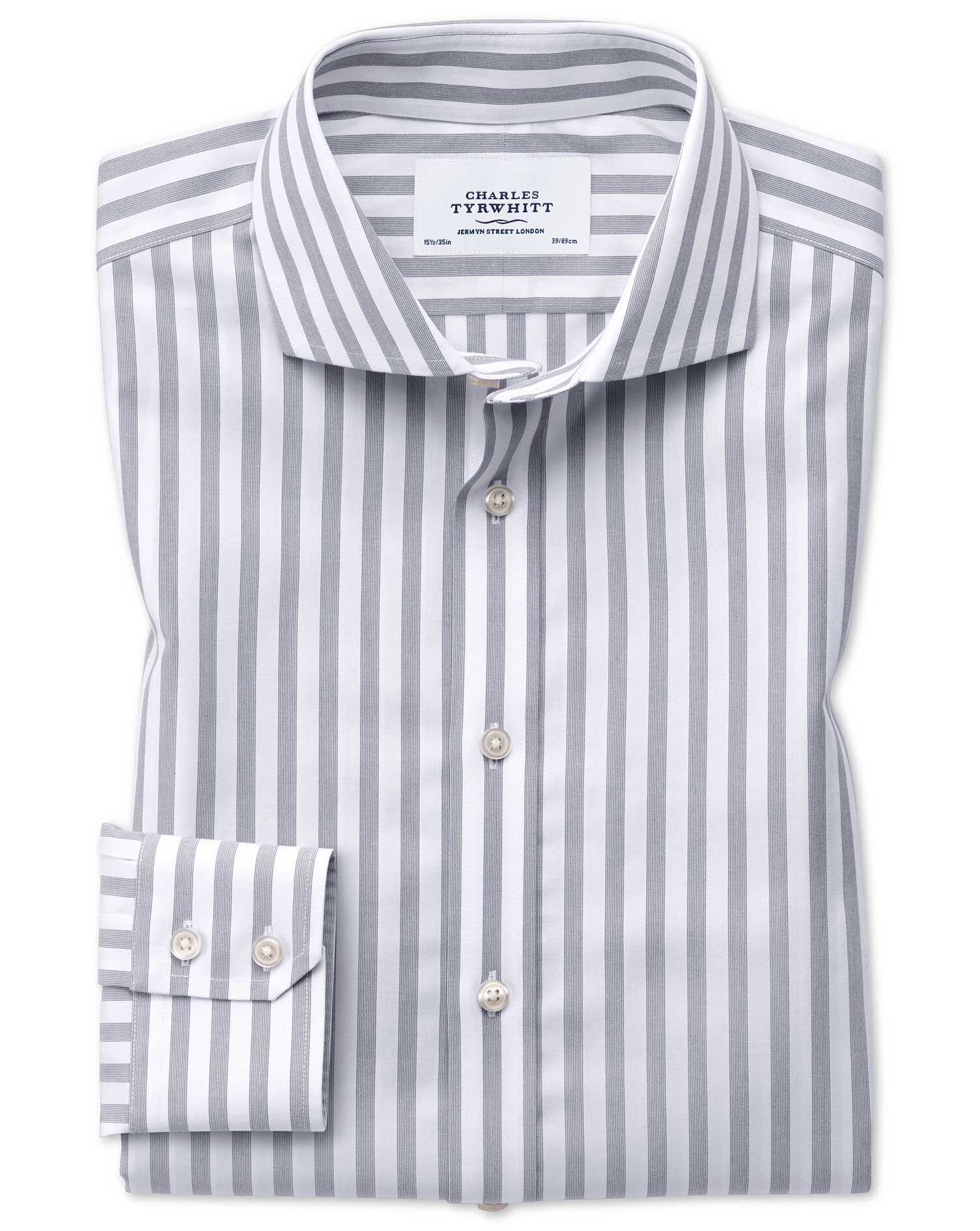 Extra Slim Fit Cutaway Non-Iron Wide Stripe Grey Cotton Formal Shirt Single Cuff Size 15.5/35 by Cha